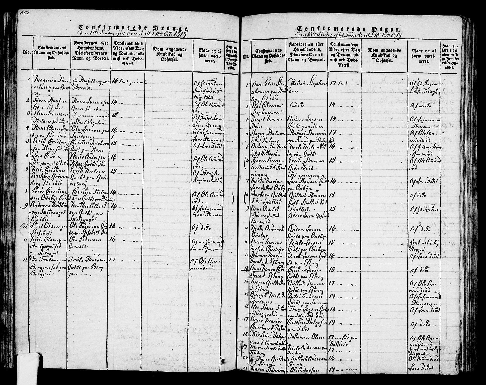 SAKO, Tjølling kirkebøker, F/Fa/L0005: Ministerialbok nr. 5, 1814-1836, s. 502-503