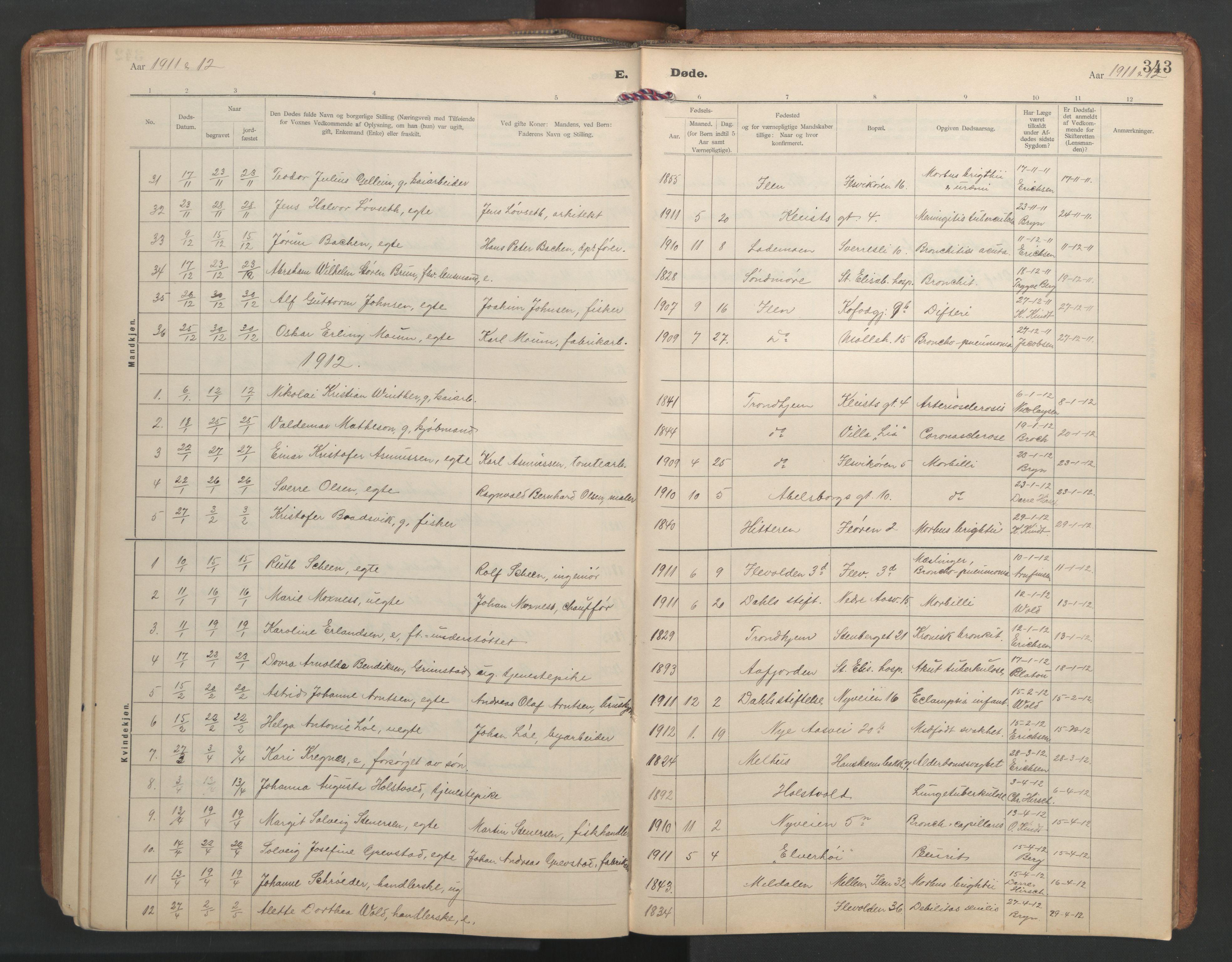 SAT, Ministerialprotokoller, klokkerbøker og fødselsregistre - Sør-Trøndelag, 603/L0173: Klokkerbok nr. 603C01, 1907-1962, s. 343