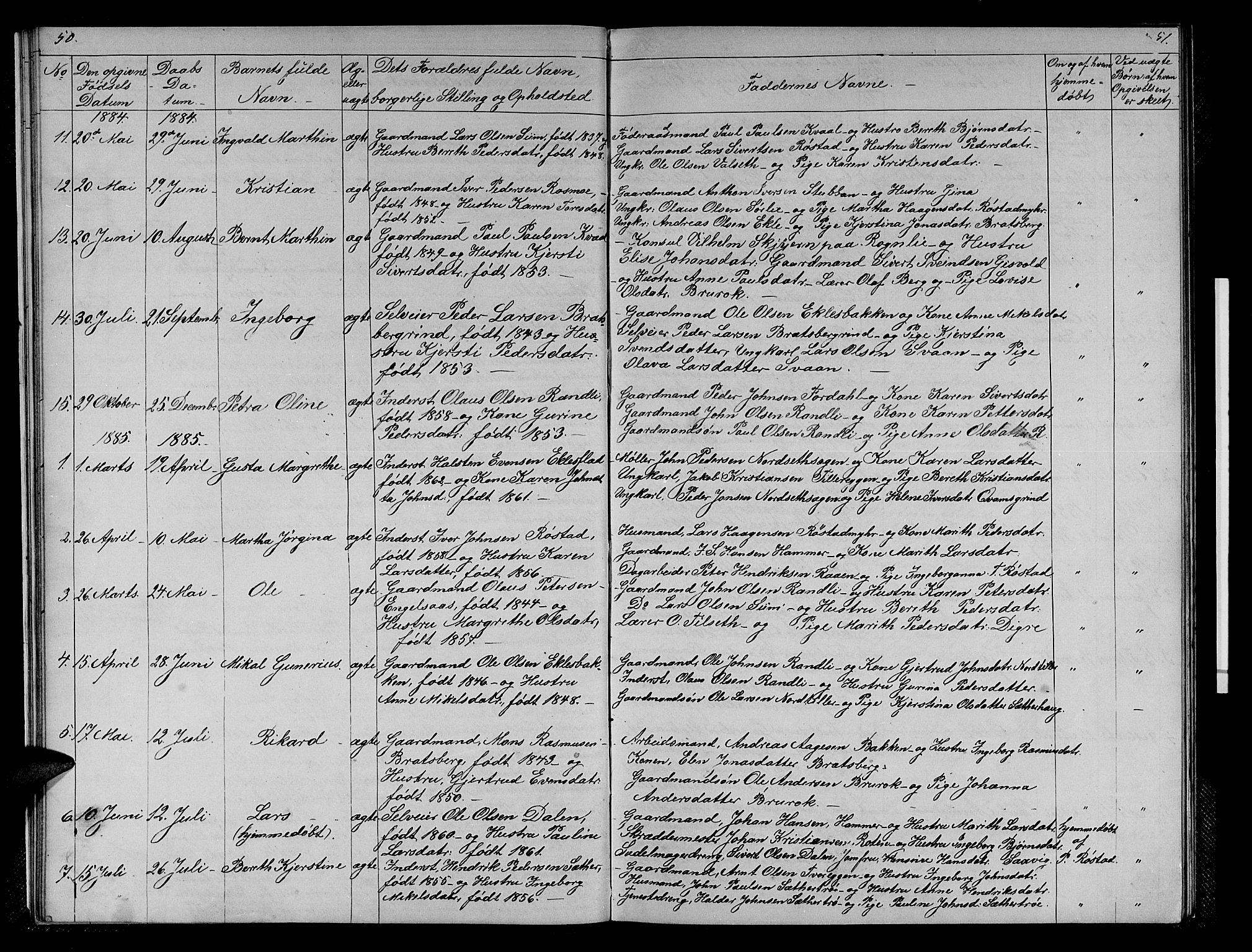 SAT, Ministerialprotokoller, klokkerbøker og fødselsregistre - Sør-Trøndelag, 608/L0340: Klokkerbok nr. 608C06, 1864-1889, s. 50-51