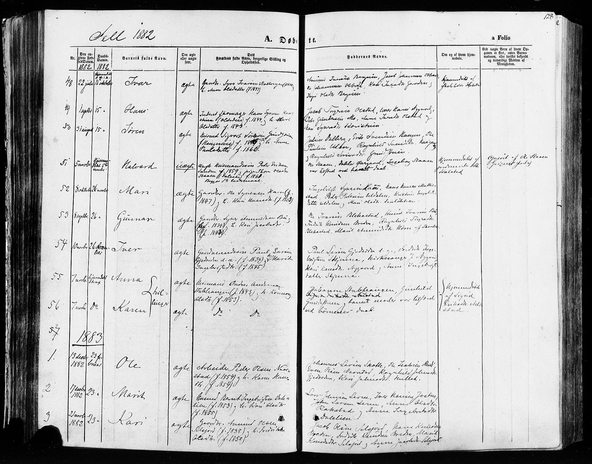 SAH, Vågå prestekontor, Ministerialbok nr. 7 /3, 1872-1886, s. 128