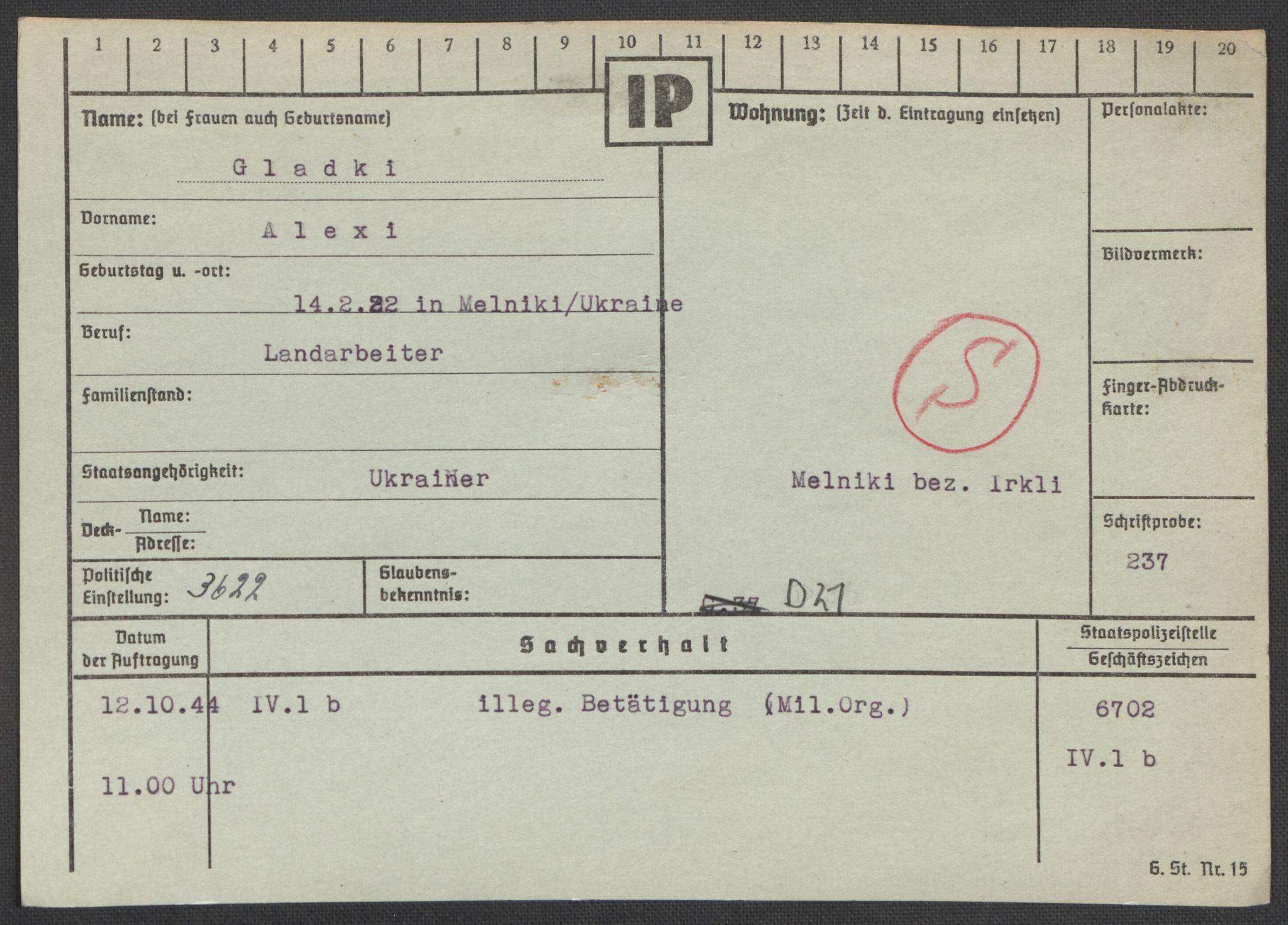 RA, Befehlshaber der Sicherheitspolizei und des SD, E/Ea/Eaa/L0003: Register over norske fanger i Møllergata 19: Eng-Hag, 1940-1945, s. 865