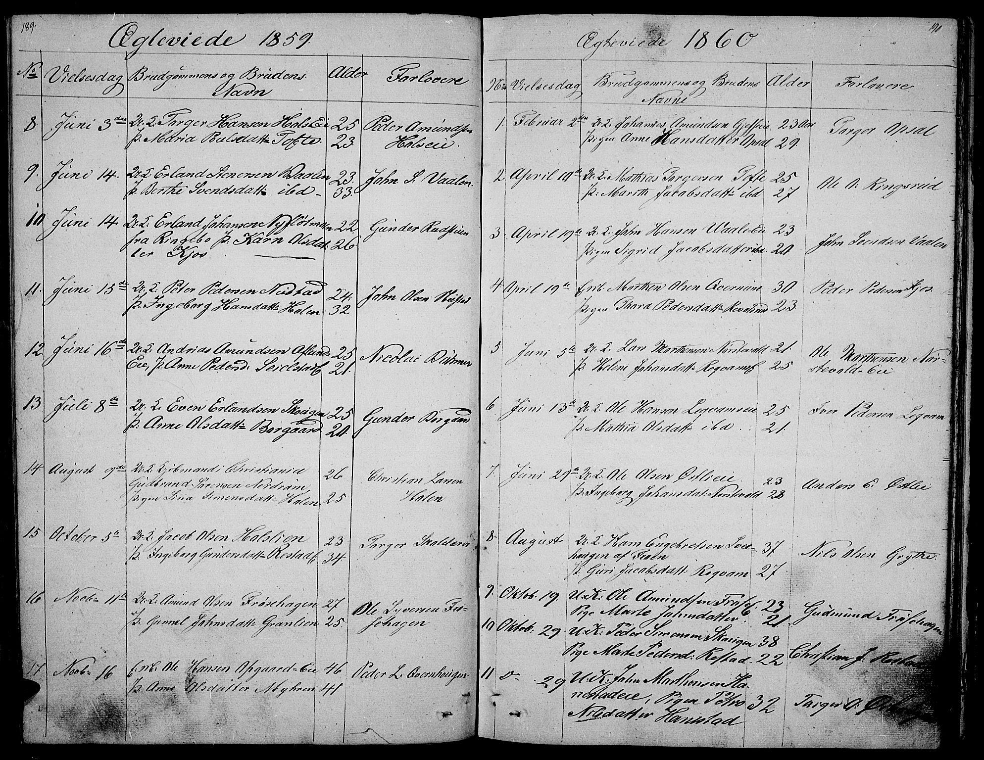 SAH, Gausdal prestekontor, Klokkerbok nr. 3, 1829-1864, s. 189-190