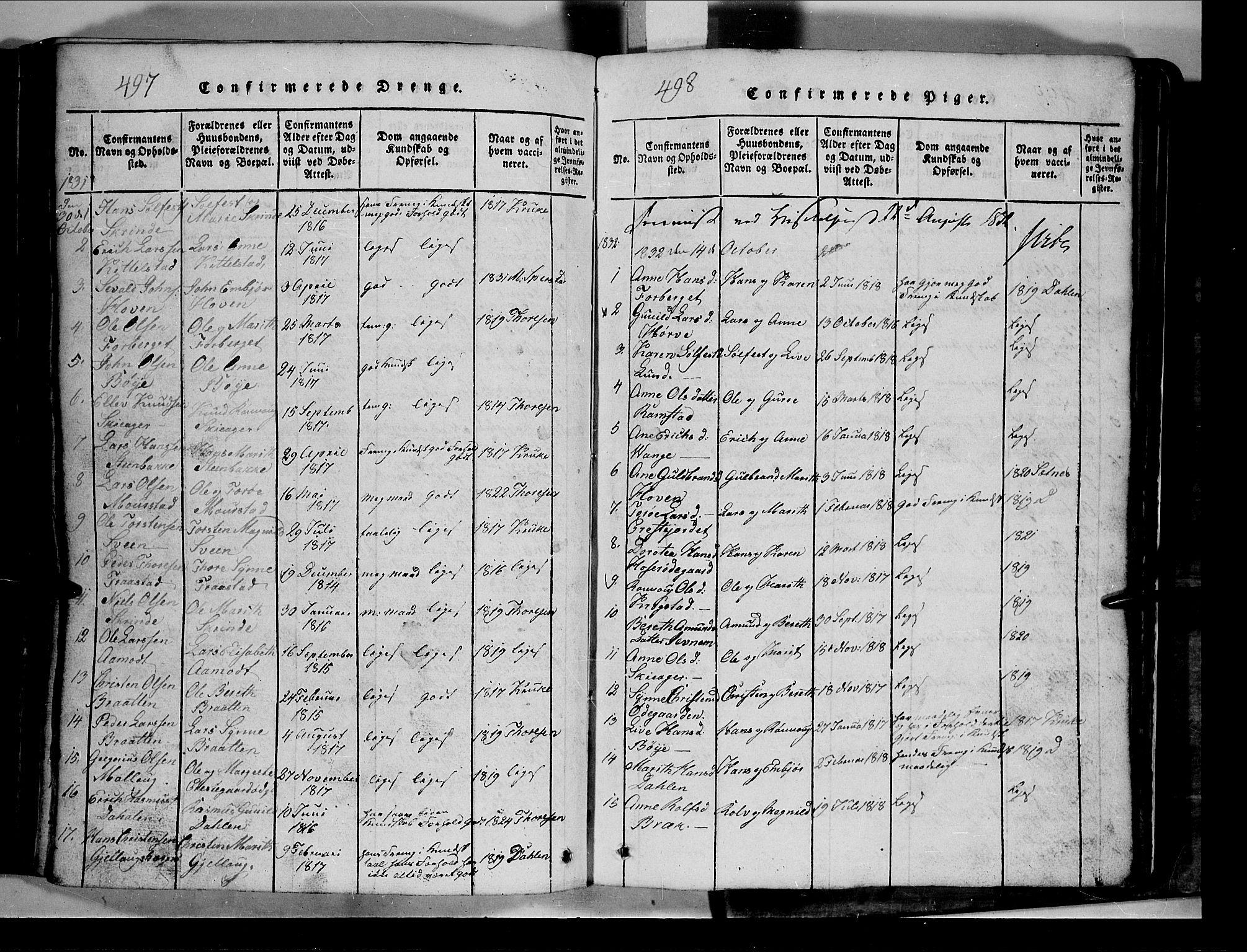 SAH, Lom prestekontor, L/L0003: Klokkerbok nr. 3, 1815-1844, s. 497-498