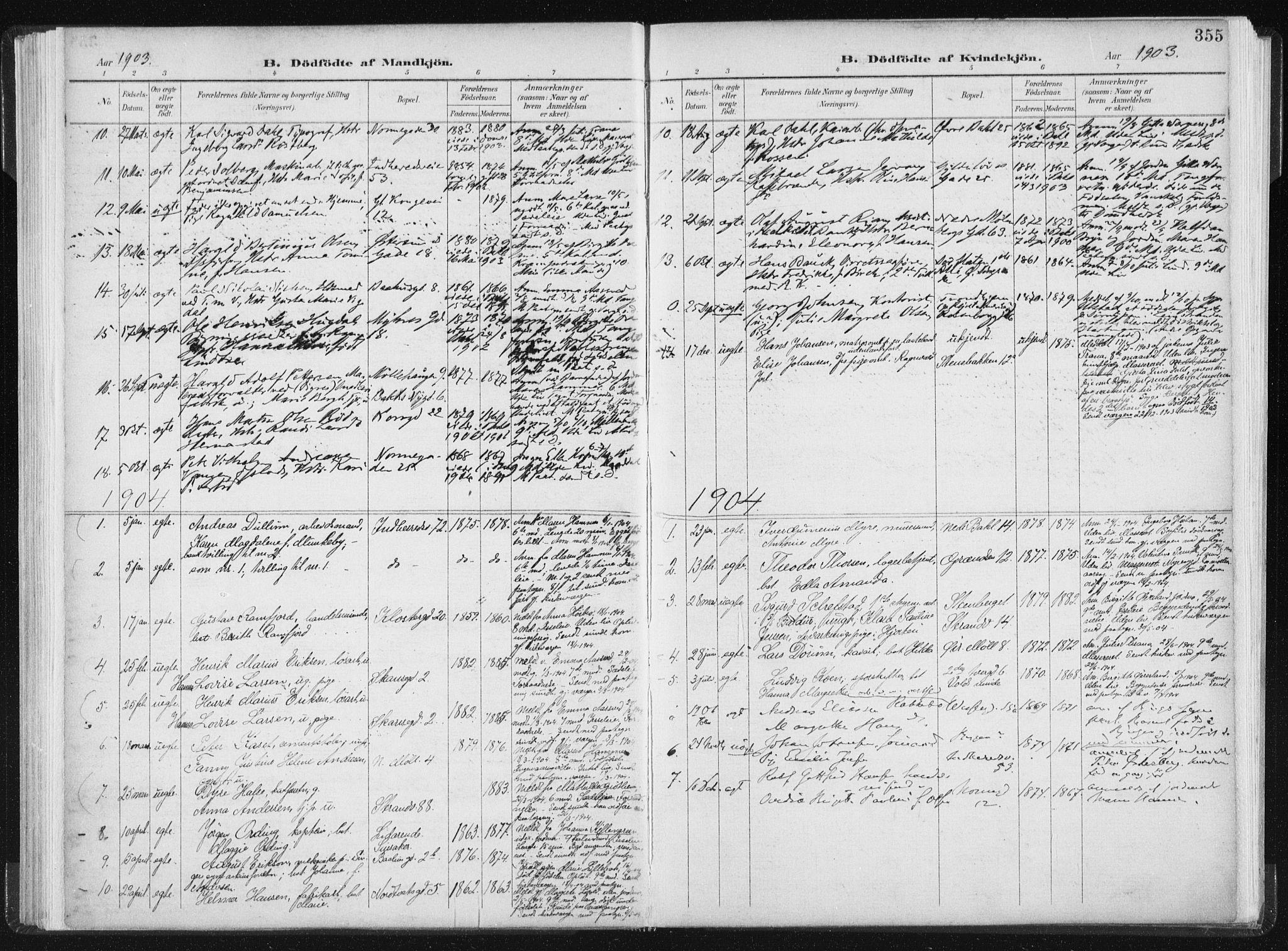 SAT, Ministerialprotokoller, klokkerbøker og fødselsregistre - Sør-Trøndelag, 604/L0200: Ministerialbok nr. 604A20II, 1901-1908, s. 355