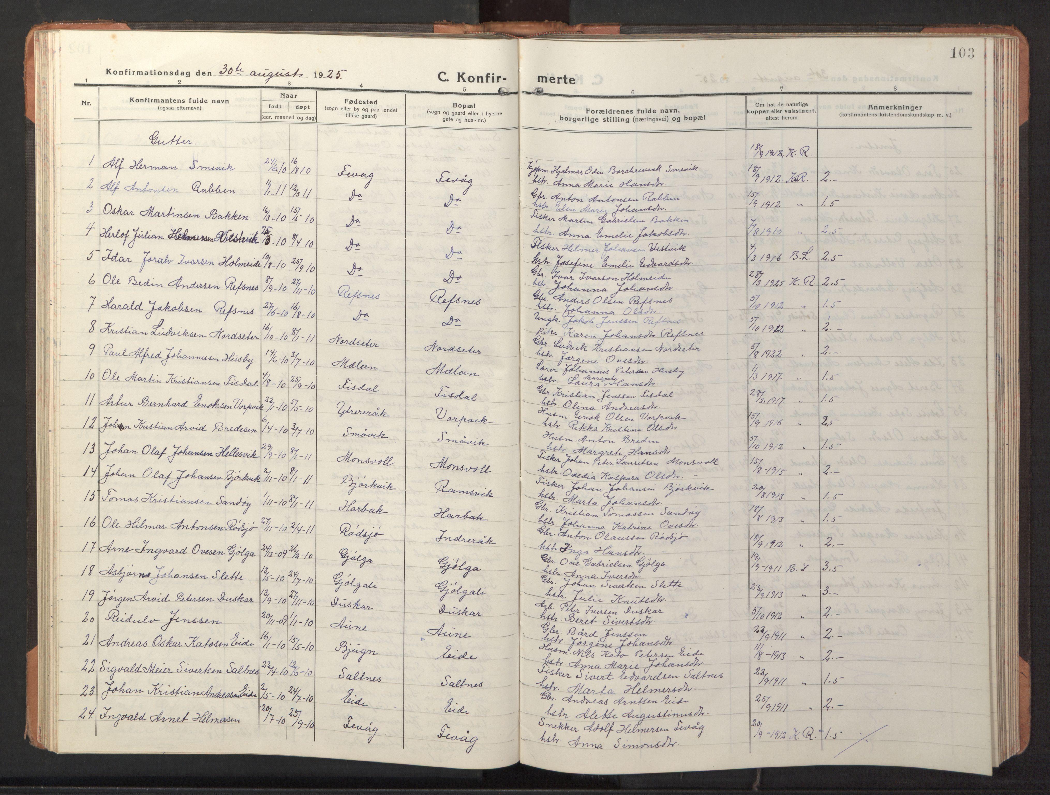 SAT, Ministerialprotokoller, klokkerbøker og fødselsregistre - Sør-Trøndelag, 653/L0658: Klokkerbok nr. 653C02, 1919-1947, s. 103