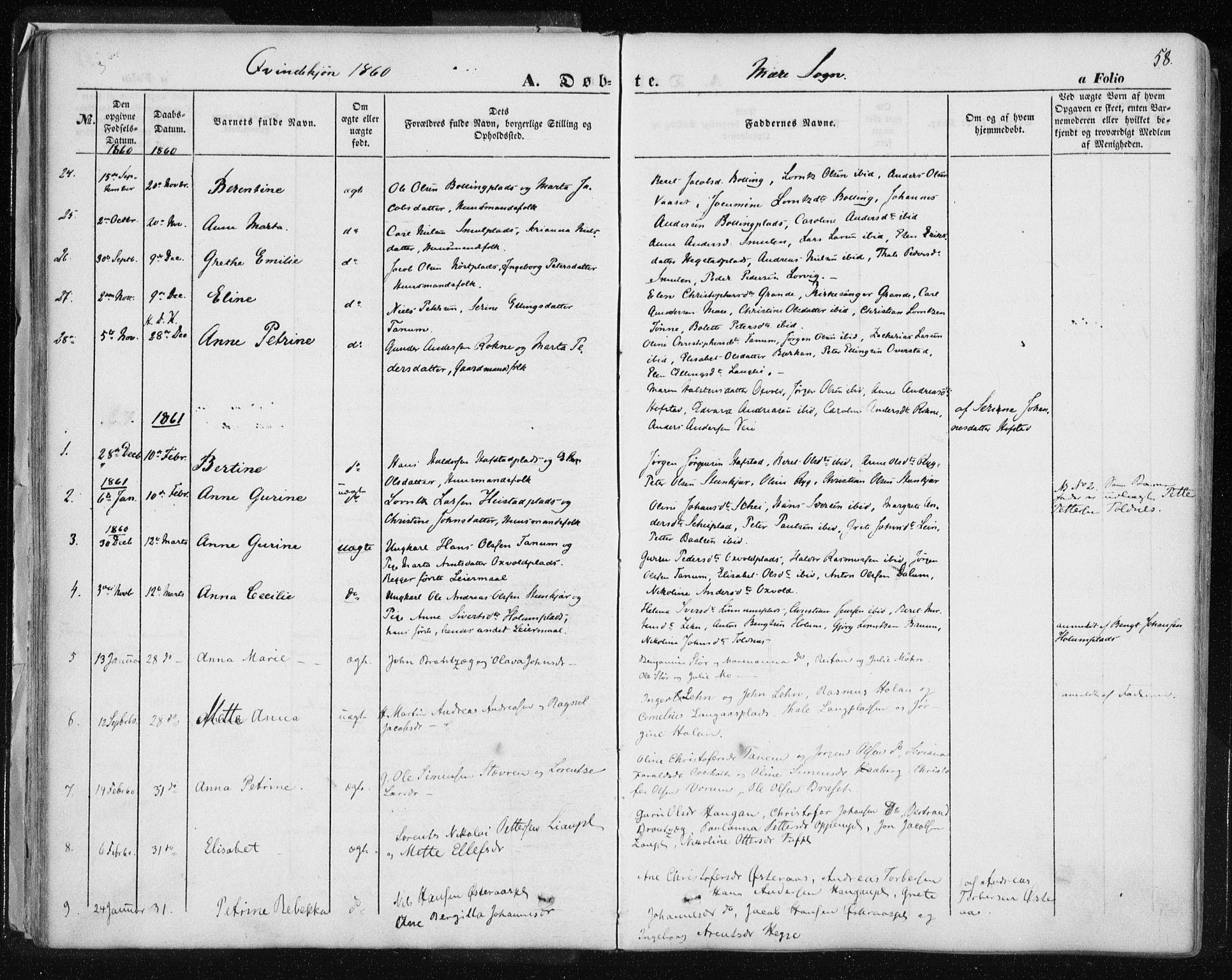 SAT, Ministerialprotokoller, klokkerbøker og fødselsregistre - Nord-Trøndelag, 735/L0342: Ministerialbok nr. 735A07 /1, 1849-1862, s. 58