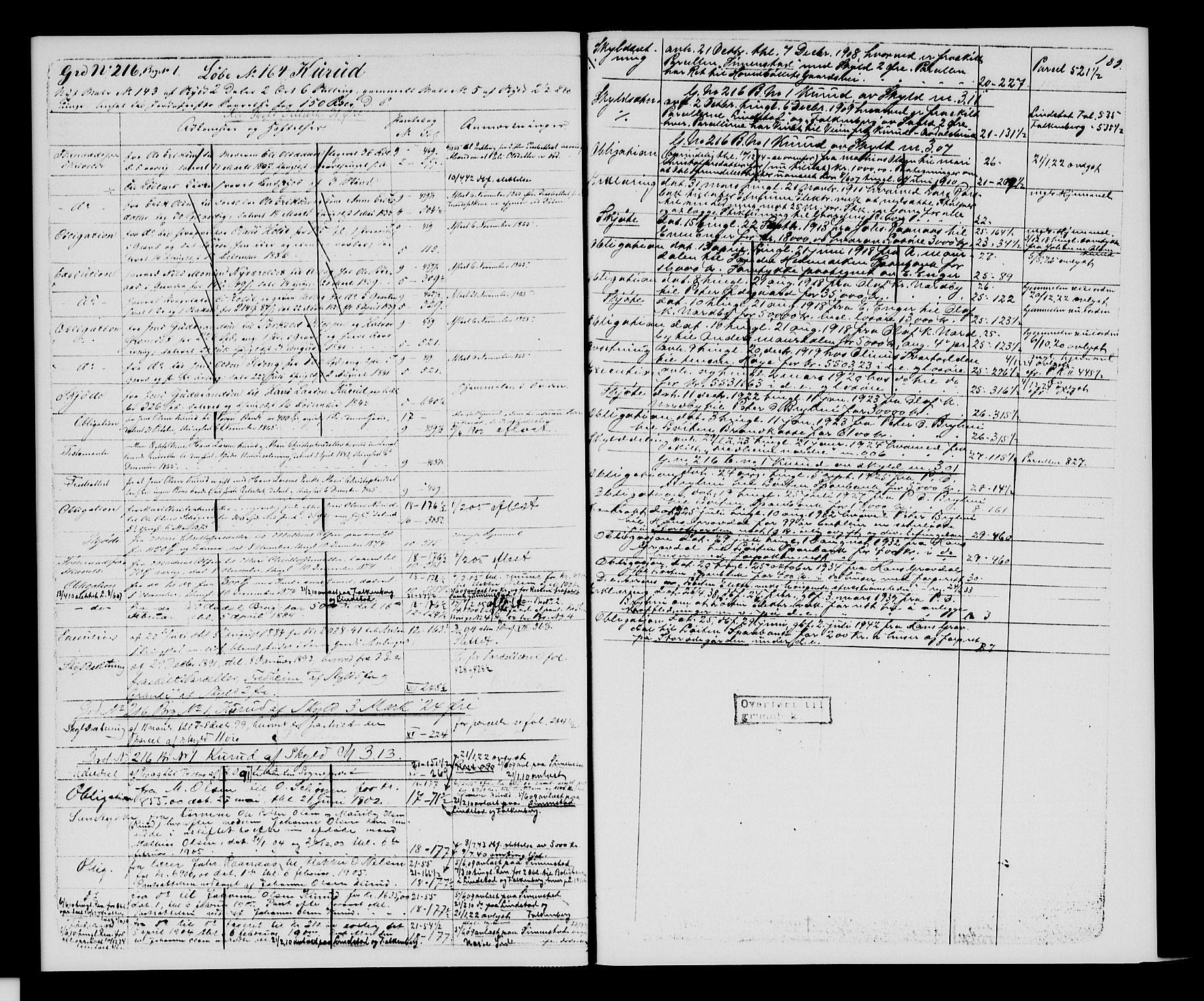 SAH, Sør-Hedmark sorenskriveri, H/Ha/Hac/Hacc/L0001: Panteregister nr. 3.1, 1855-1943, s. 189