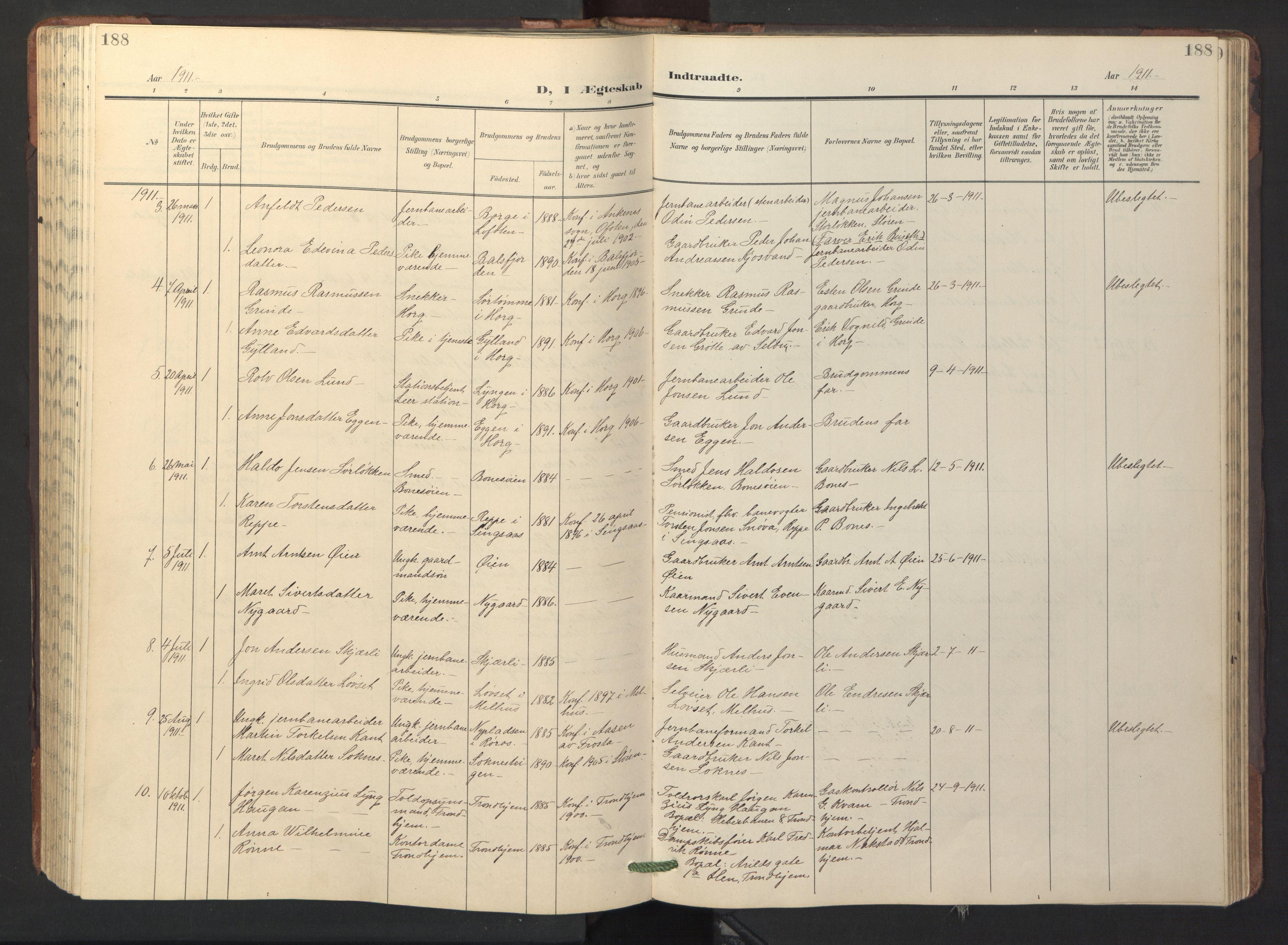 SAT, Ministerialprotokoller, klokkerbøker og fødselsregistre - Sør-Trøndelag, 687/L1019: Klokkerbok nr. 687C03, 1904-1931, s. 188