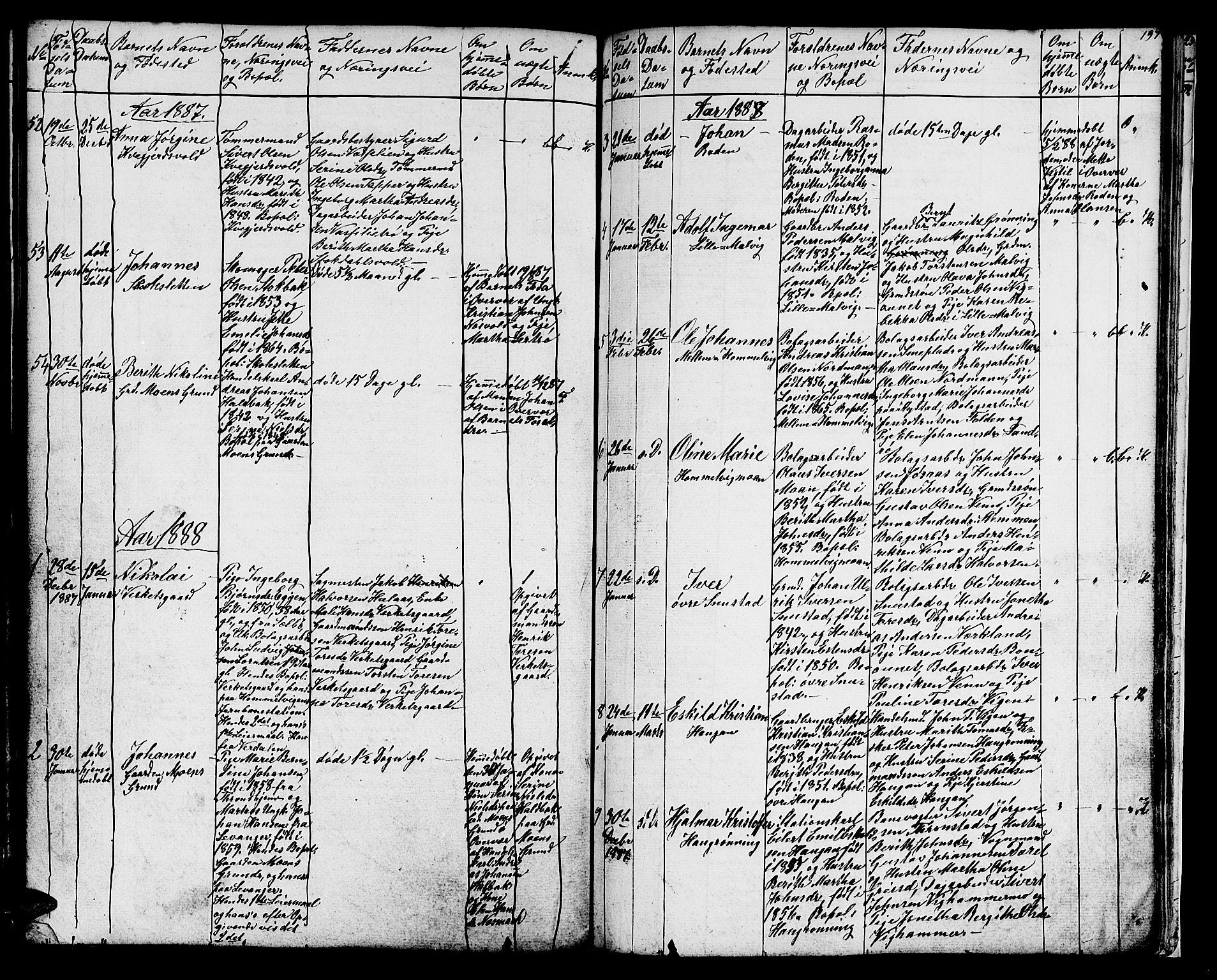 SAT, Ministerialprotokoller, klokkerbøker og fødselsregistre - Sør-Trøndelag, 616/L0422: Klokkerbok nr. 616C05, 1850-1888, s. 197