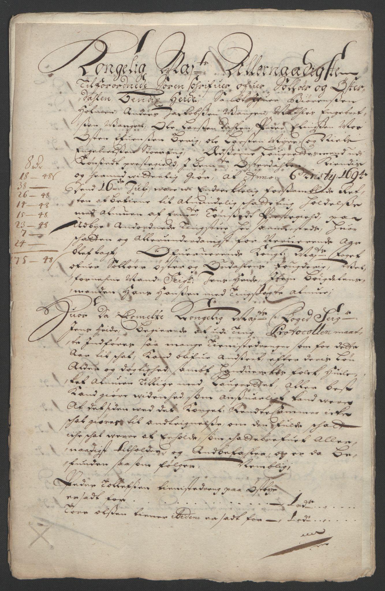 RA, Rentekammeret inntil 1814, Reviderte regnskaper, Fogderegnskap, R13/L0832: Fogderegnskap Solør, Odal og Østerdal, 1694, s. 261