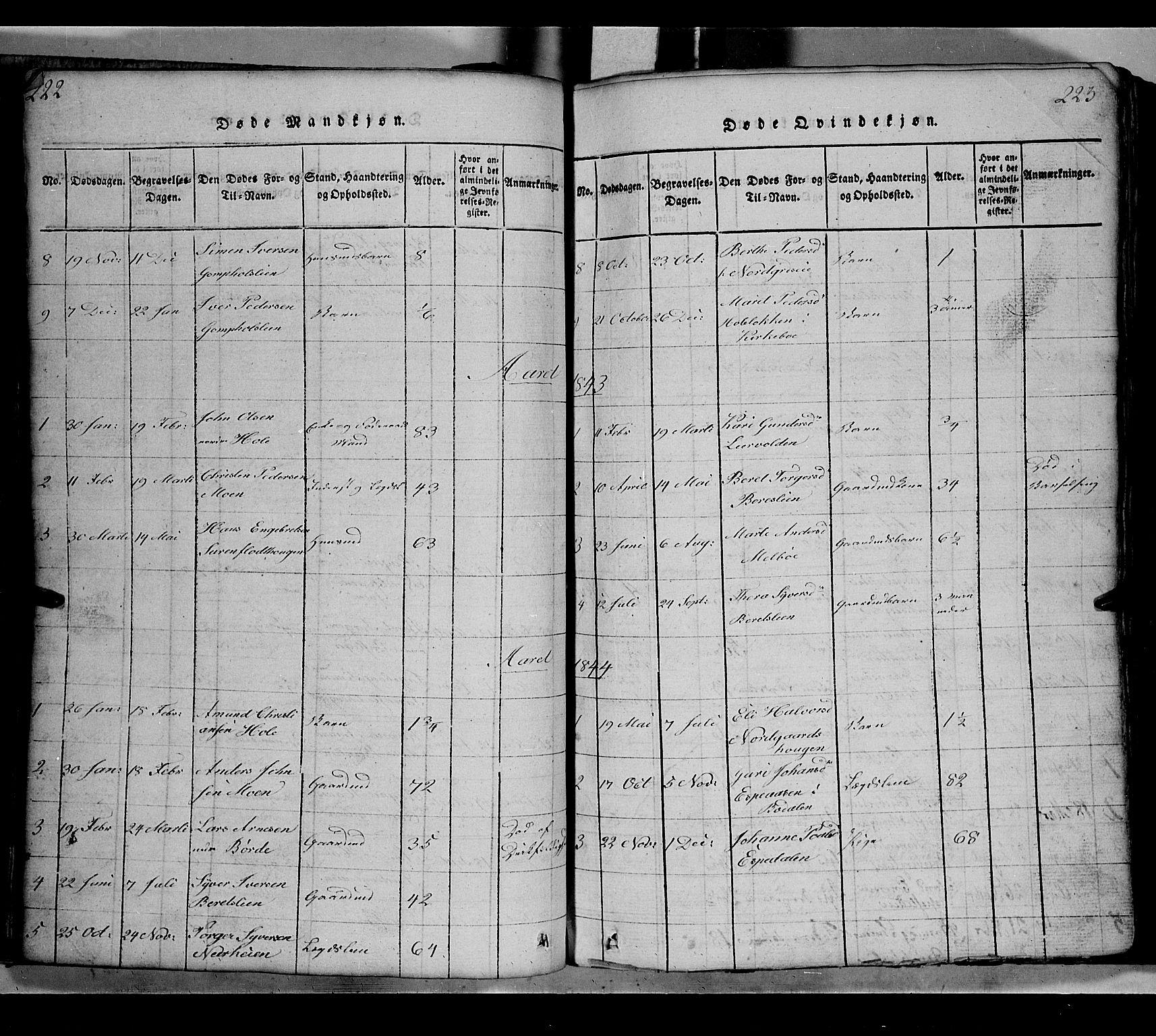 SAH, Gausdal prestekontor, Klokkerbok nr. 2, 1818-1874, s. 222-223