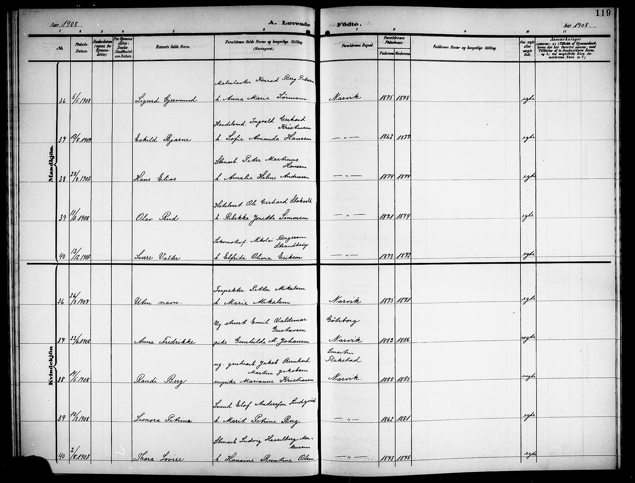 SAT, Ministerialprotokoller, klokkerbøker og fødselsregistre - Nordland, 871/L1012: Klokkerbok nr. 871C01, 1902-1909, s. 119