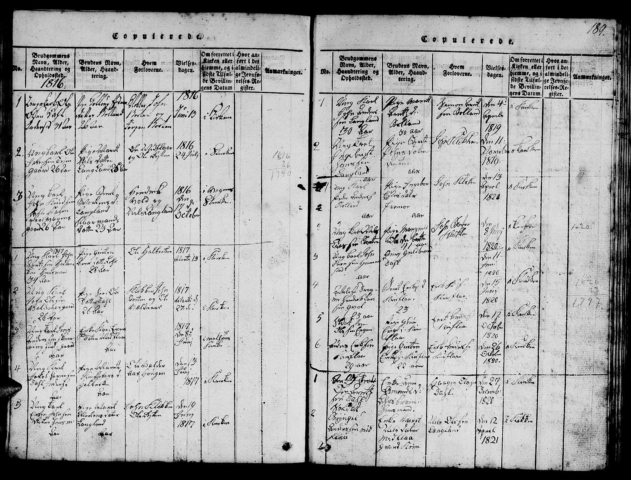 SAT, Ministerialprotokoller, klokkerbøker og fødselsregistre - Sør-Trøndelag, 693/L1121: Klokkerbok nr. 693C02, 1816-1869, s. 189