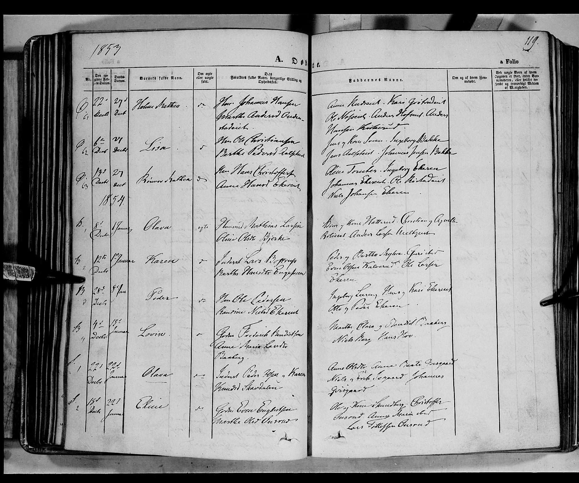 SAH, Biri prestekontor, Ministerialbok nr. 5, 1843-1854, s. 119