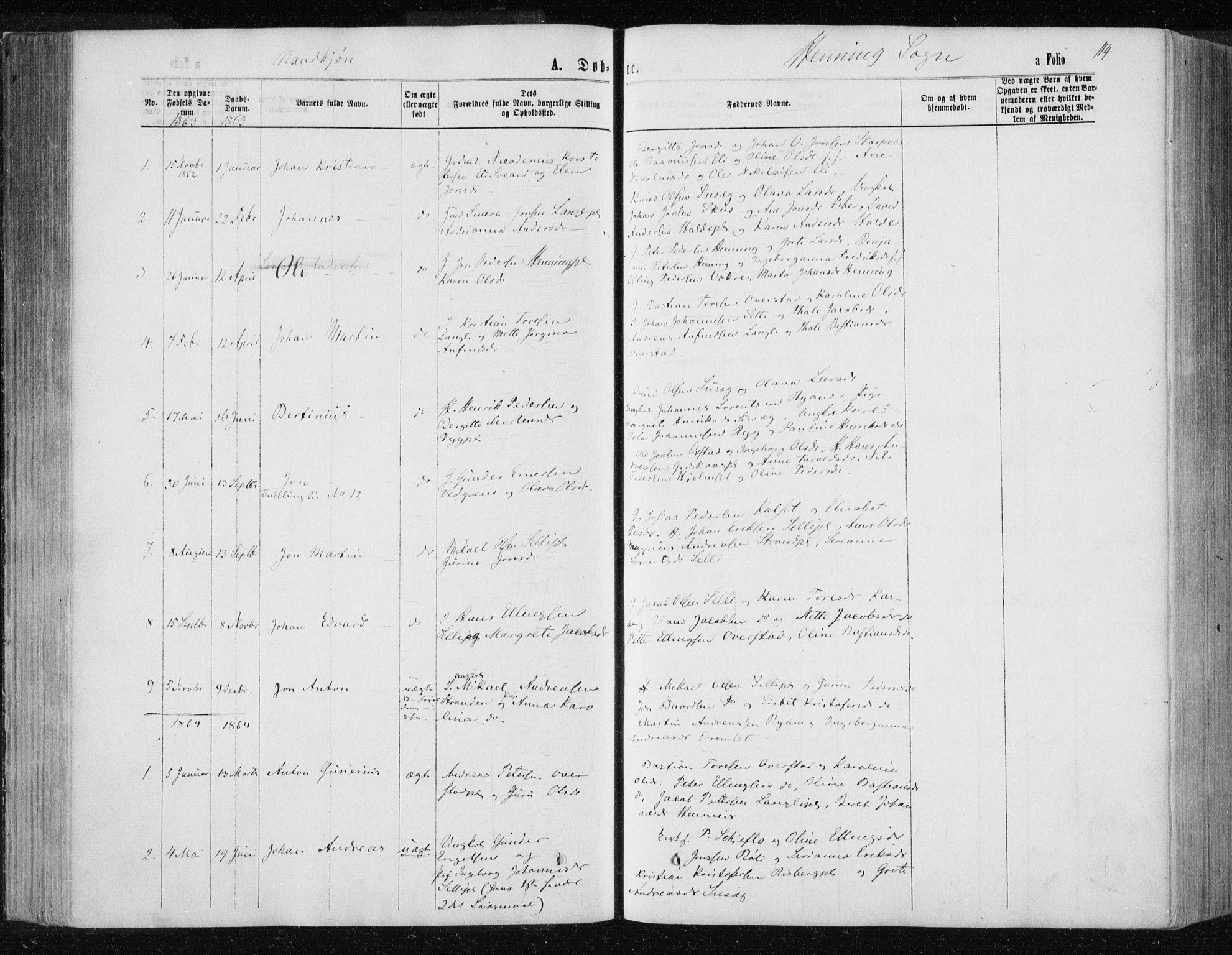 SAT, Ministerialprotokoller, klokkerbøker og fødselsregistre - Nord-Trøndelag, 735/L0345: Ministerialbok nr. 735A08 /3, 1863-1872, s. 114