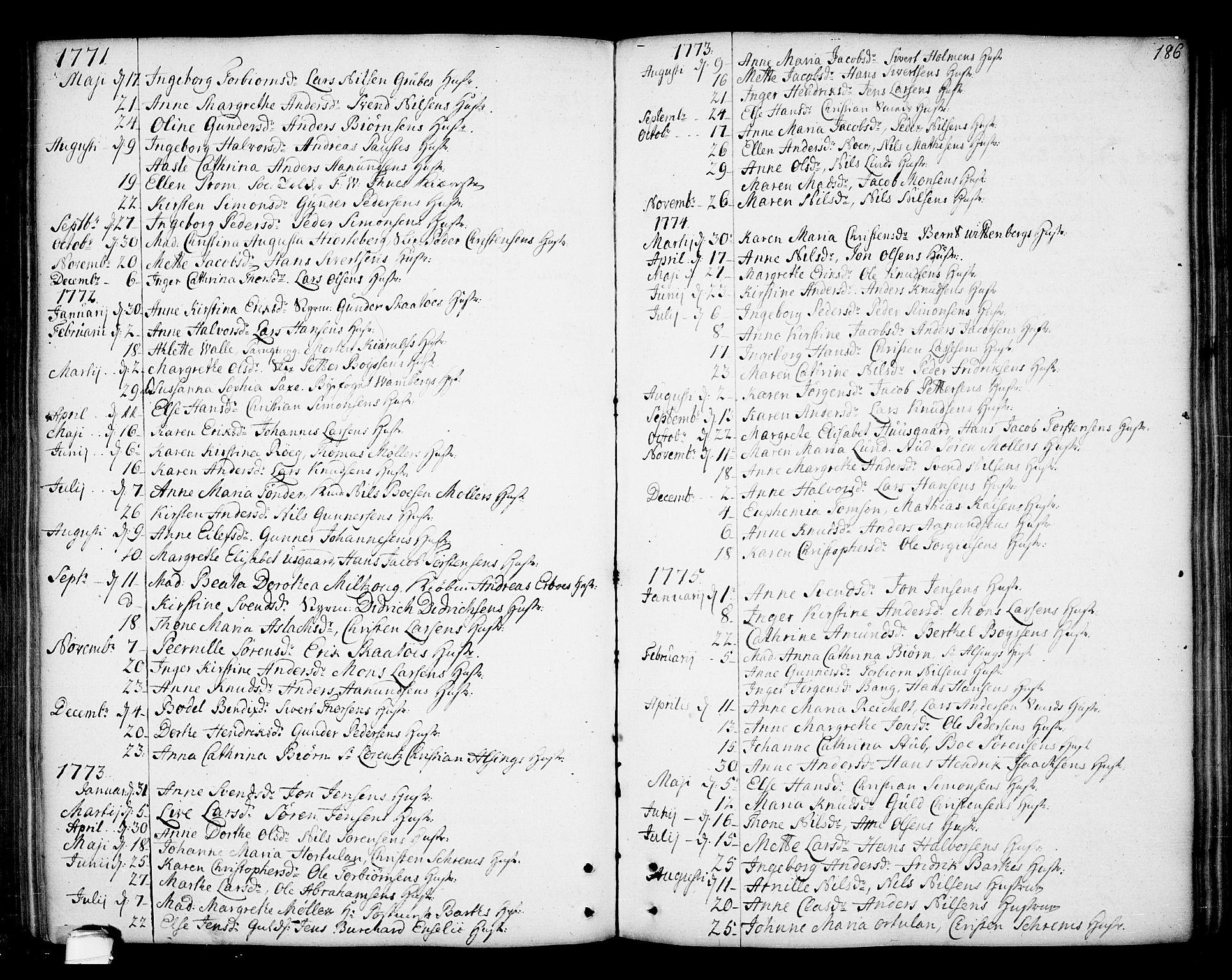 SAKO, Kragerø kirkebøker, F/Fa/L0002: Ministerialbok nr. 2, 1767-1802, s. 186