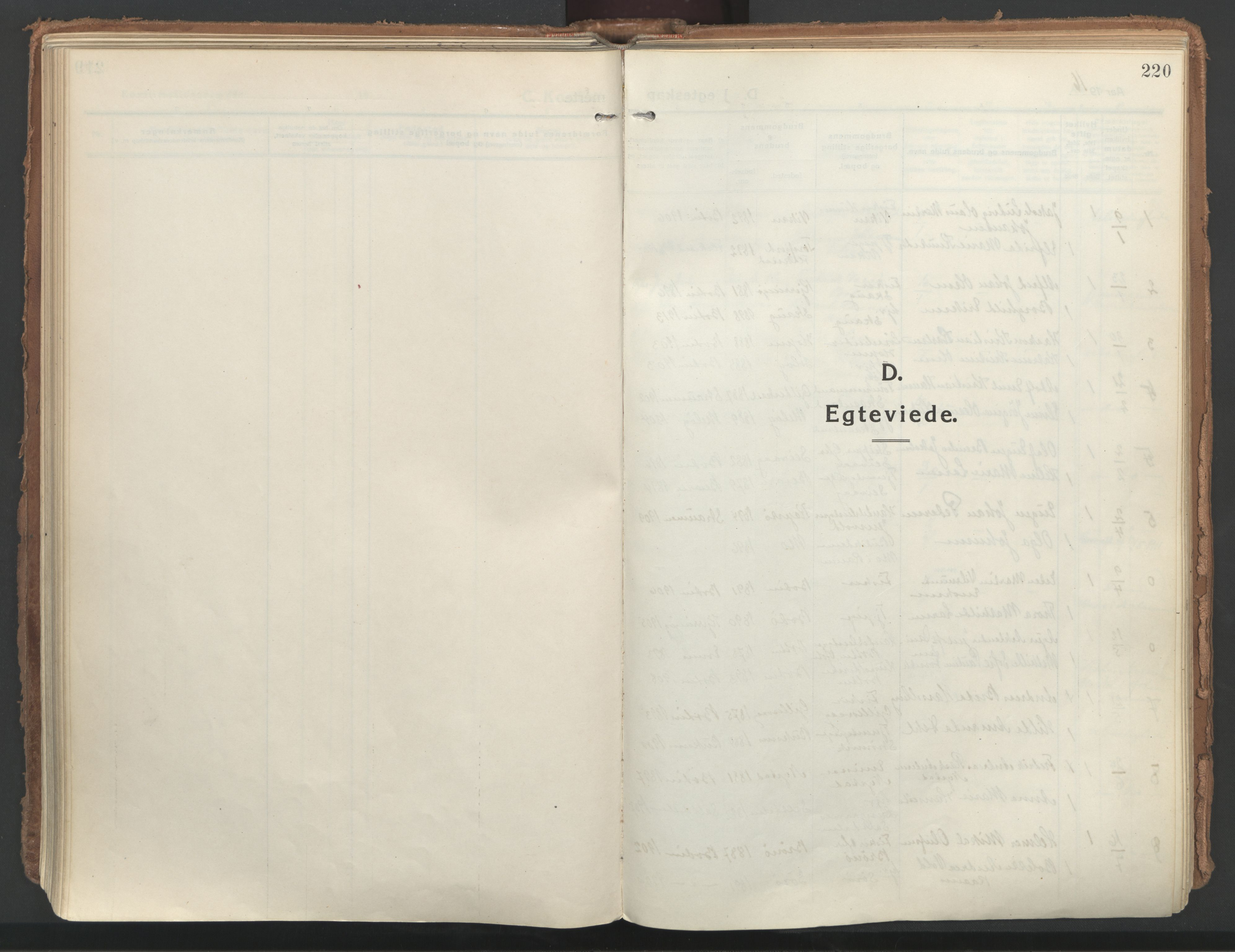 SAT, Ministerialprotokoller, klokkerbøker og fødselsregistre - Nordland, 802/L0060: Ministerialbok nr. 802A07, 1916-1933, s. 220