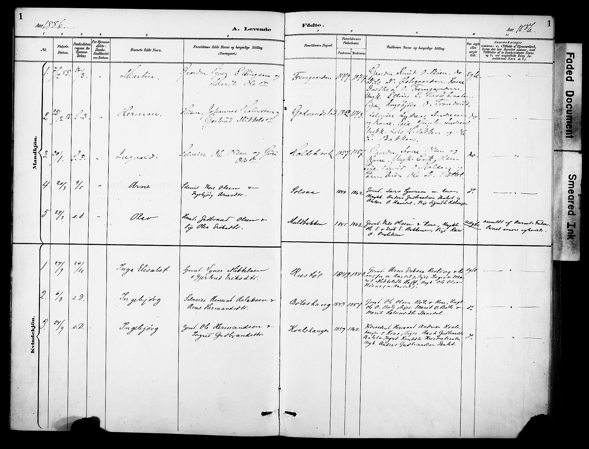SAH, Sør-Aurdal prestekontor, Ministerialbok nr. 10, 1886-1906, s. 1
