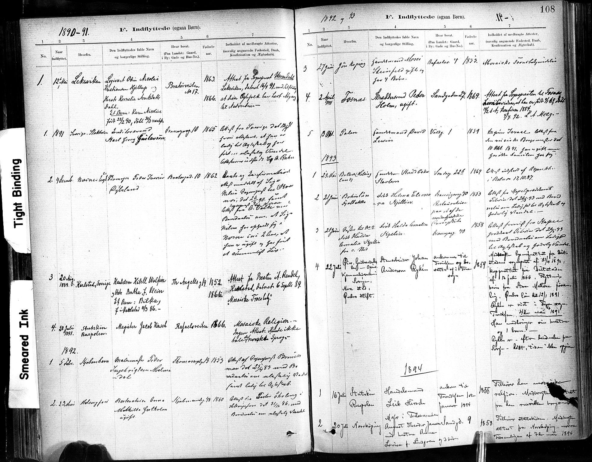 SAT, Ministerialprotokoller, klokkerbøker og fødselsregistre - Sør-Trøndelag, 602/L0120: Ministerialbok nr. 602A18, 1880-1913, s. 108