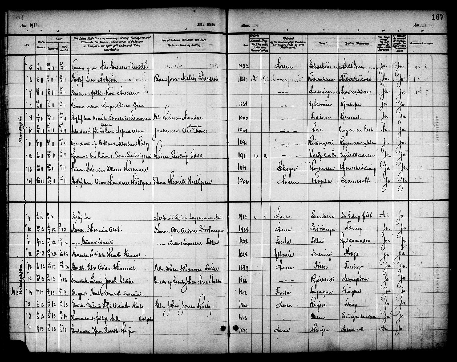 SAT, Ministerialprotokoller, klokkerbøker og fødselsregistre - Nord-Trøndelag, 714/L0135: Klokkerbok nr. 714C04, 1899-1918, s. 167