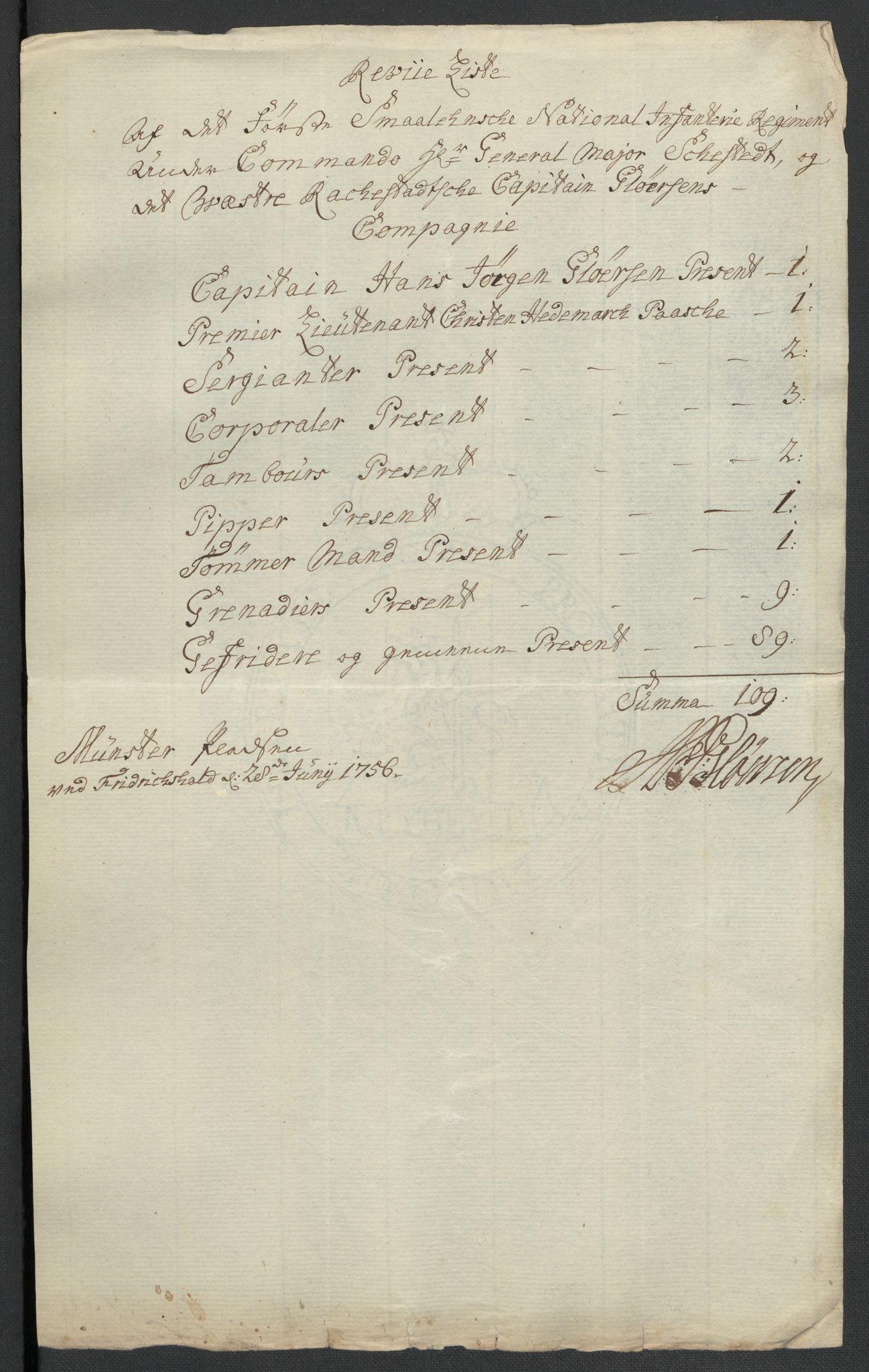 RA, Kommanderende general (KG I) med Det norske krigsdirektorium, E/Ea/L0495: 1. Smålenske regiment, 1732-1763, s. 618