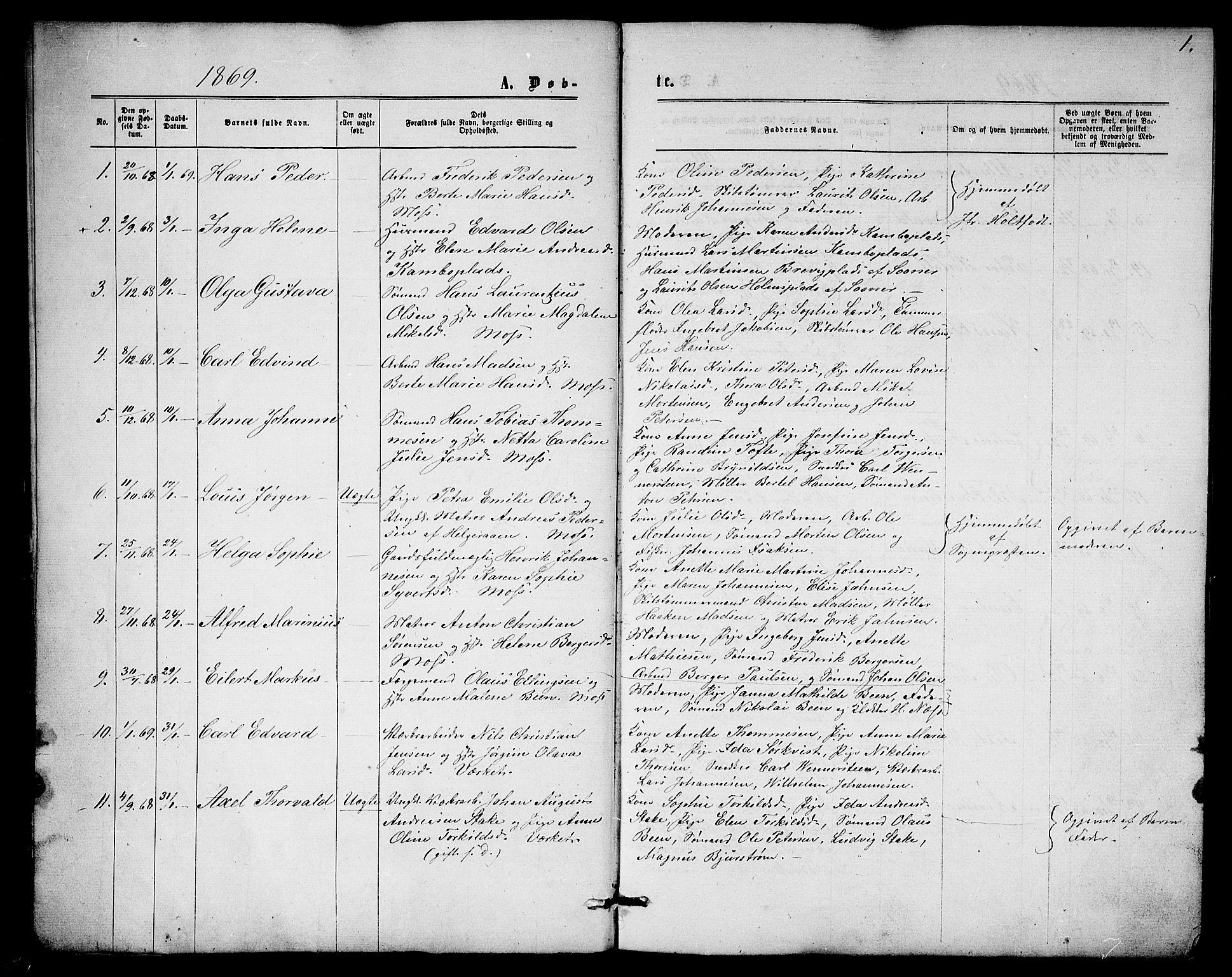 SAO, Moss prestekontor Kirkebøker, G/Ga/L0004: Klokkerbok nr.  I 4, 1869-1877, s. 1