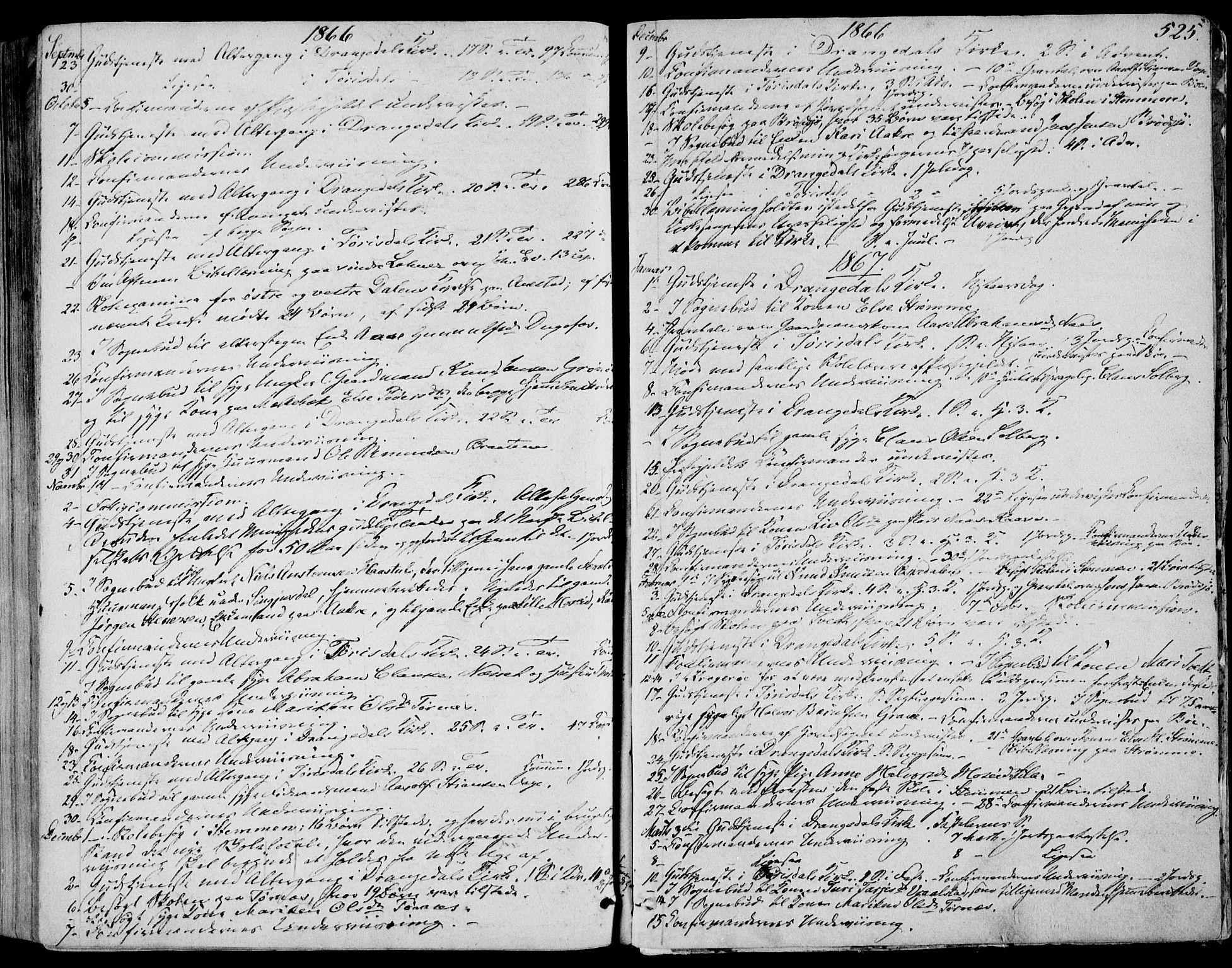 SAKO, Drangedal kirkebøker, F/Fa/L0008: Ministerialbok nr. 8, 1857-1871, s. 525