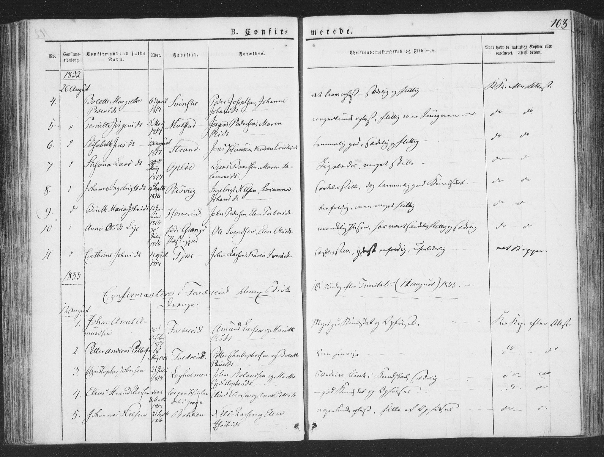 SAT, Ministerialprotokoller, klokkerbøker og fødselsregistre - Nord-Trøndelag, 780/L0639: Ministerialbok nr. 780A04, 1830-1844, s. 103