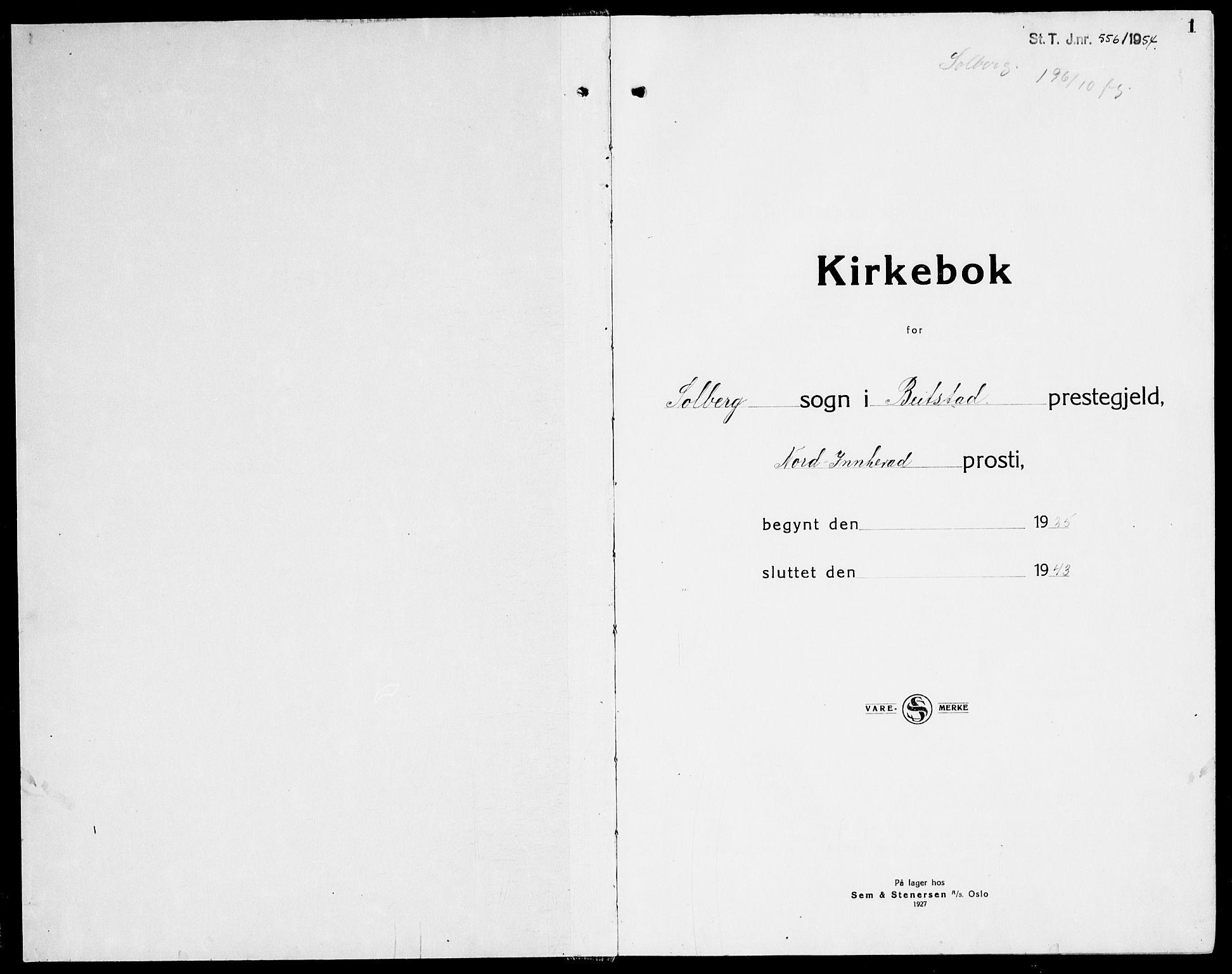 SAT, Ministerialprotokoller, klokkerbøker og fødselsregistre - Nord-Trøndelag, 741/L0403: Ministerialbok nr. 741C04, 1925-1944, s. 1