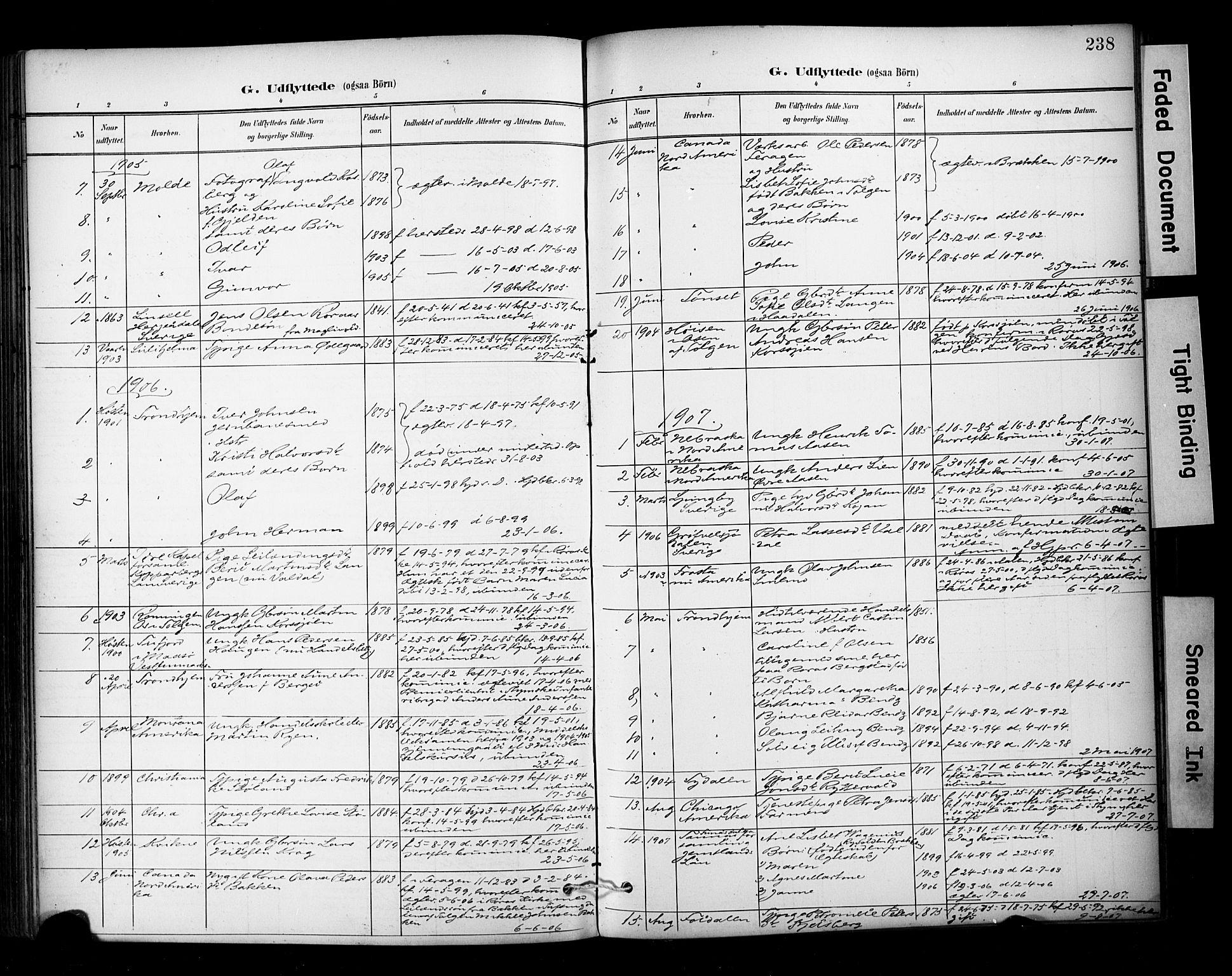 SAT, Ministerialprotokoller, klokkerbøker og fødselsregistre - Sør-Trøndelag, 681/L0936: Ministerialbok nr. 681A14, 1899-1908, s. 238