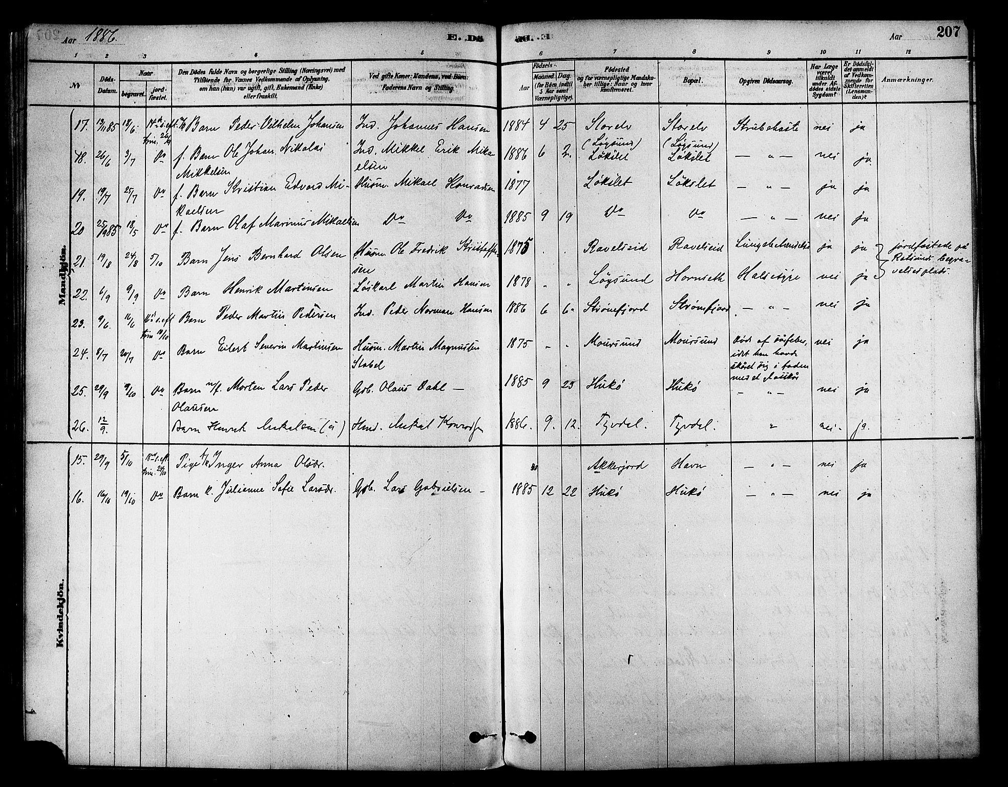 SATØ, Skjervøy sokneprestkontor, H/Ha/Haa/L0009kirke: Ministerialbok nr. 9, 1878-1887, s. 207