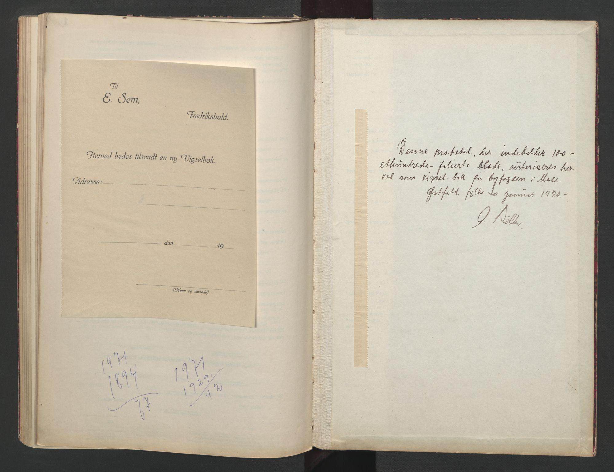SAO, Moss byfogd, L/Lb/L0003: Vigselsbok, 1920-1932, s. upaginert