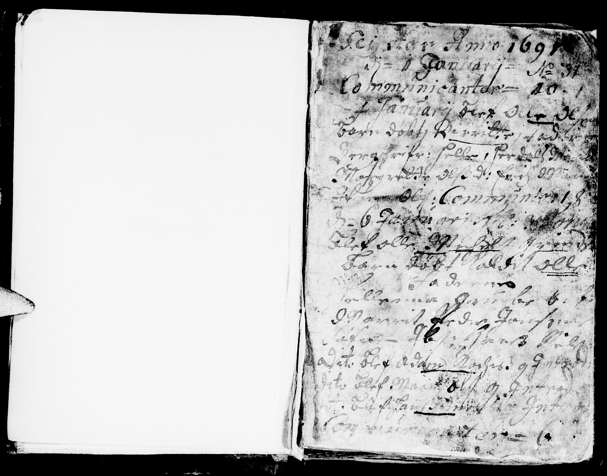 SAT, Ministerialprotokoller, klokkerbøker og fødselsregistre - Sør-Trøndelag, 681/L0923: Ministerialbok nr. 681A01, 1691-1700, s. 1