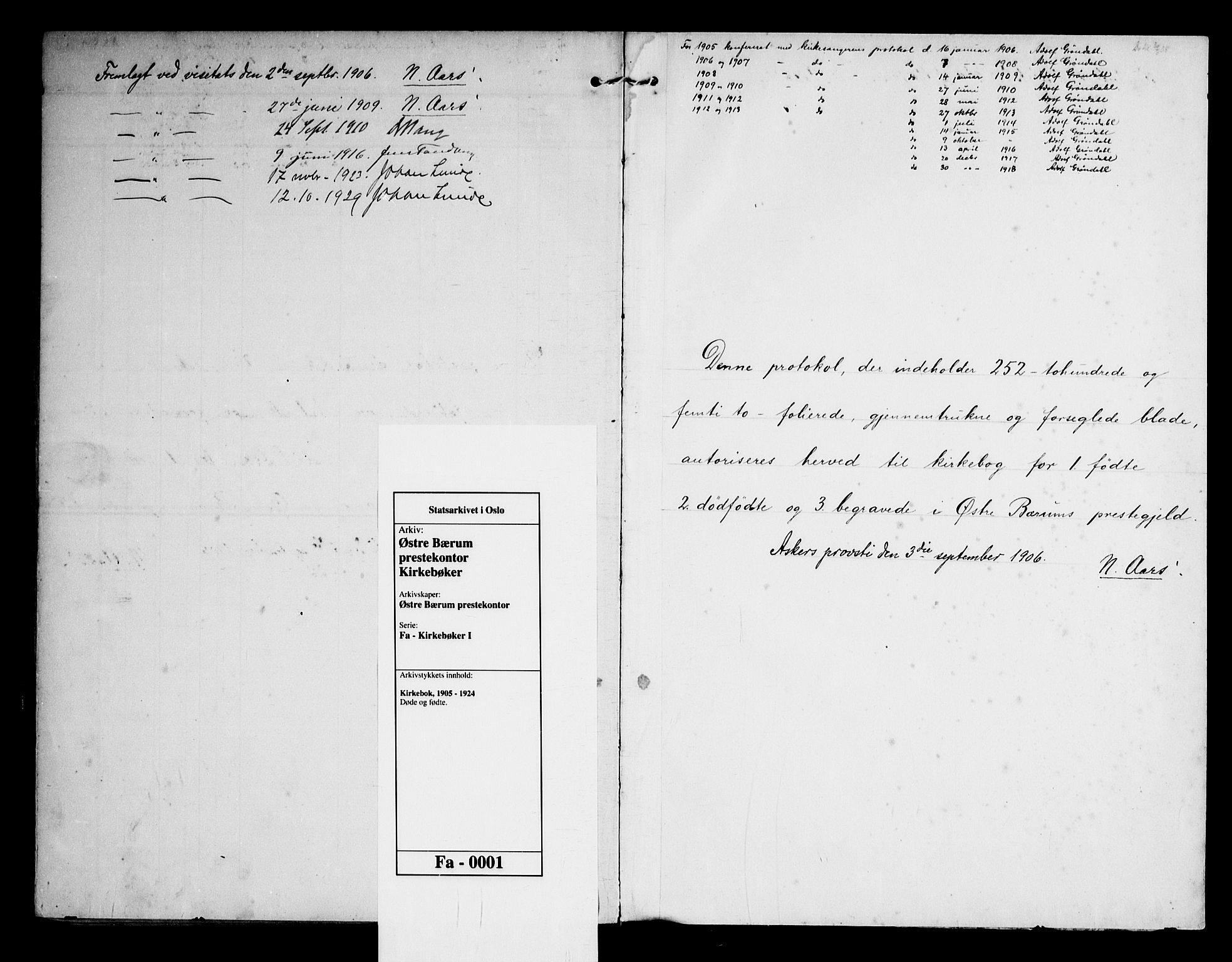 SAO, Østre Bærum prestekontor Kirkebøker, F/Fa/L0001: Ministerialbok nr. 1, 1905-1924