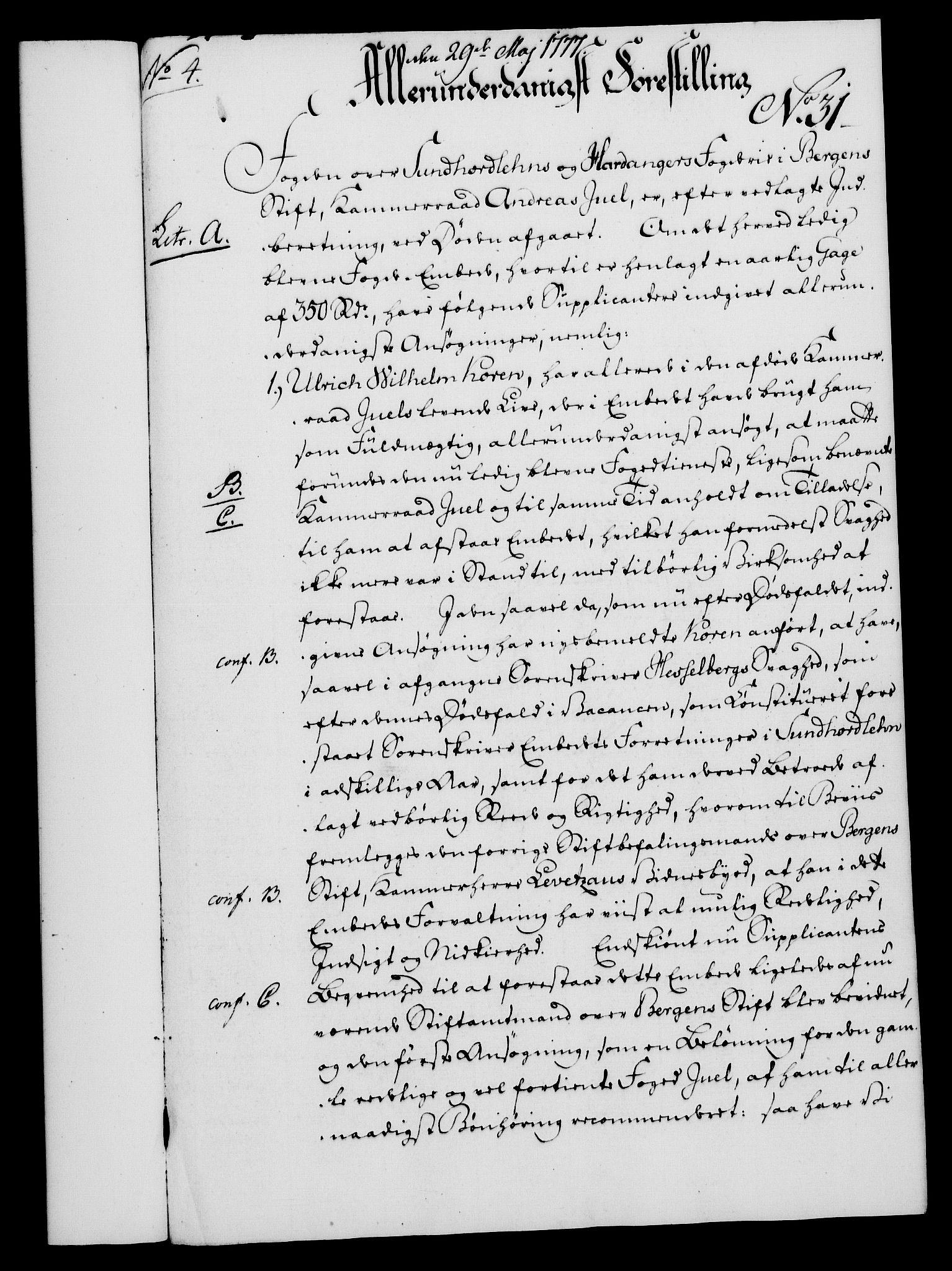 RA, Rentekammeret, Kammerkanselliet, G/Gf/Gfa/L0059: Norsk relasjons- og resolusjonsprotokoll (merket RK 52.59), 1777, s. 163