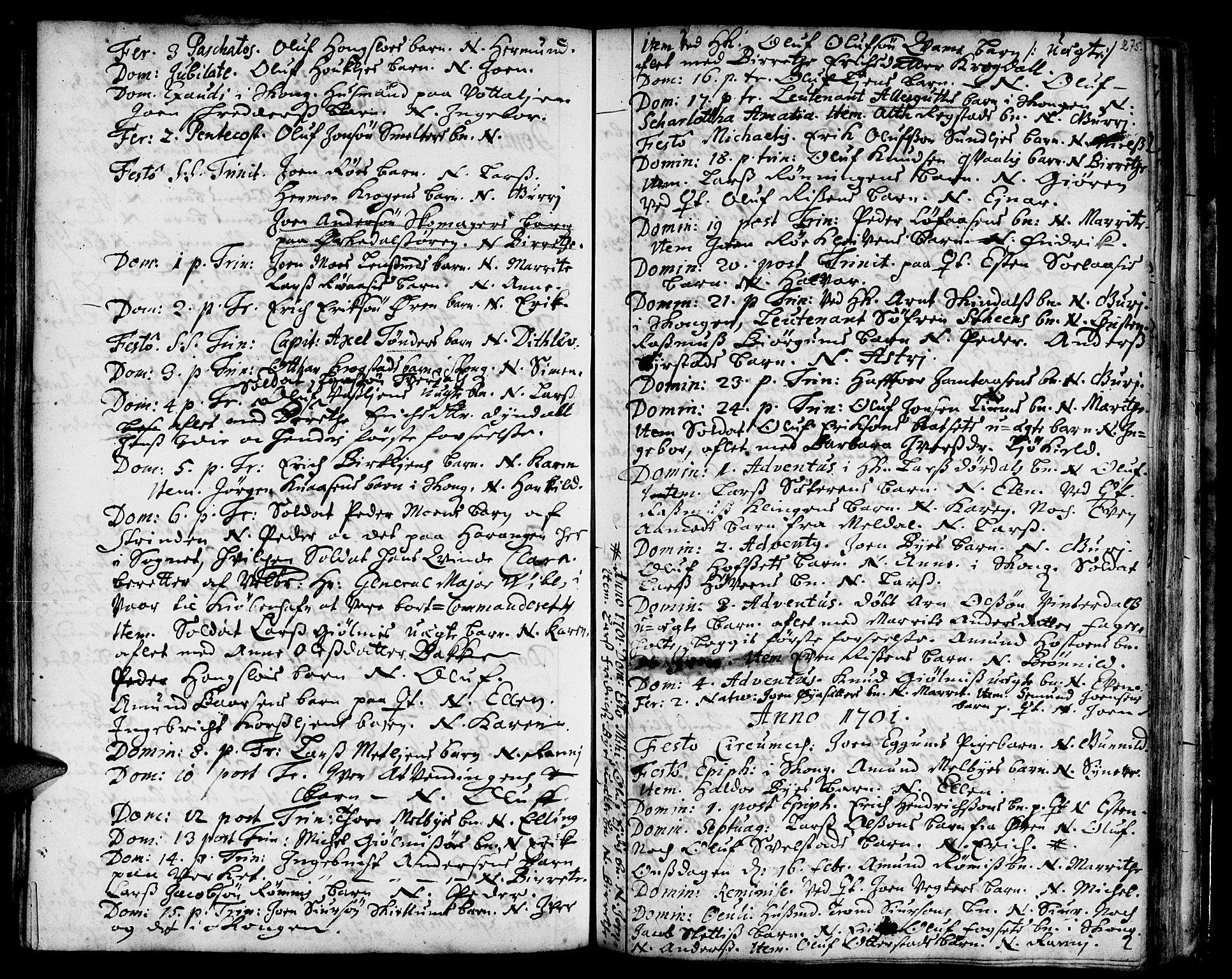 SAT, Ministerialprotokoller, klokkerbøker og fødselsregistre - Sør-Trøndelag, 668/L0801: Ministerialbok nr. 668A01, 1695-1716, s. 274-275