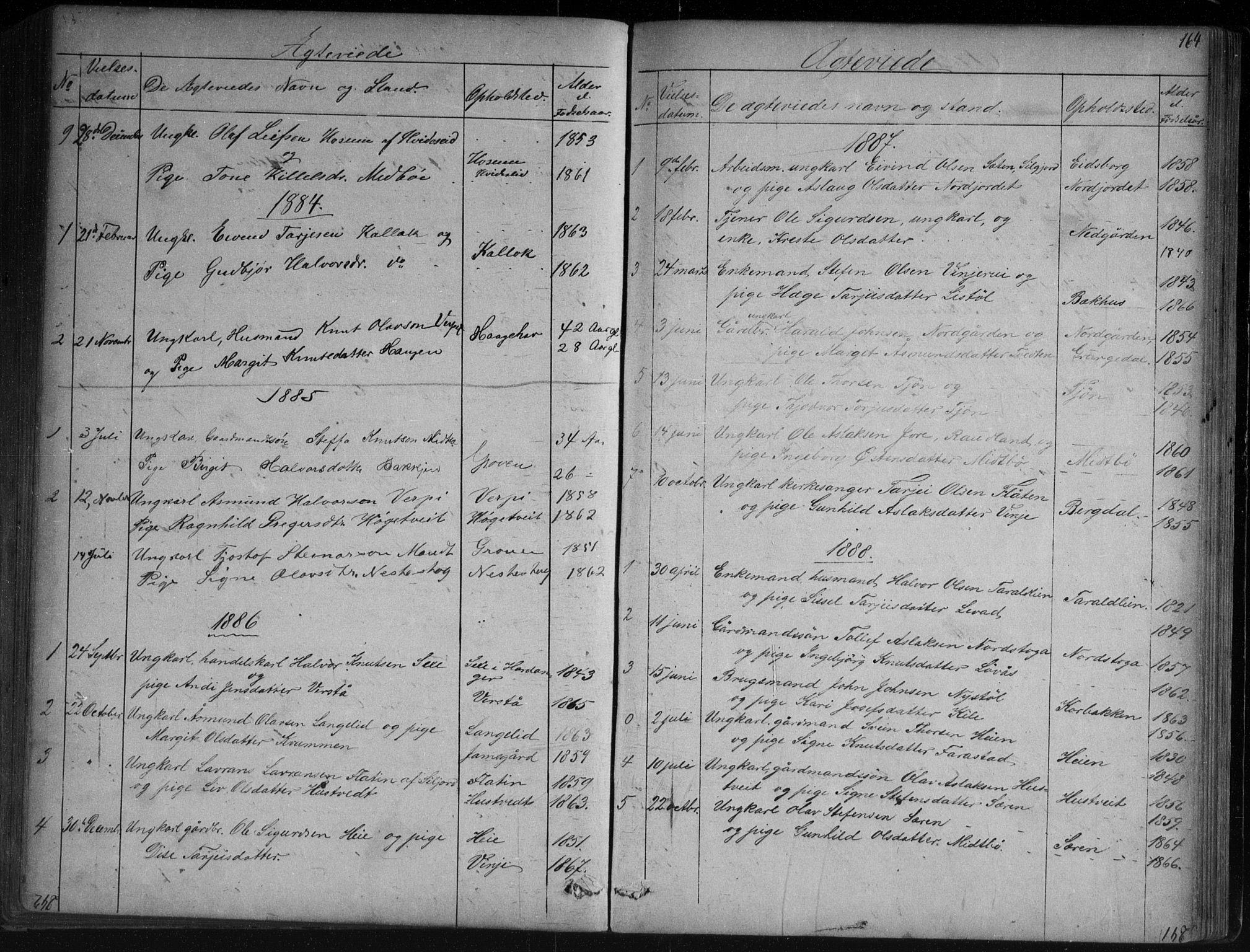 SAKO, Vinje kirkebøker, G/Ga/L0002: Klokkerbok nr. I 2, 1849-1893, s. 164