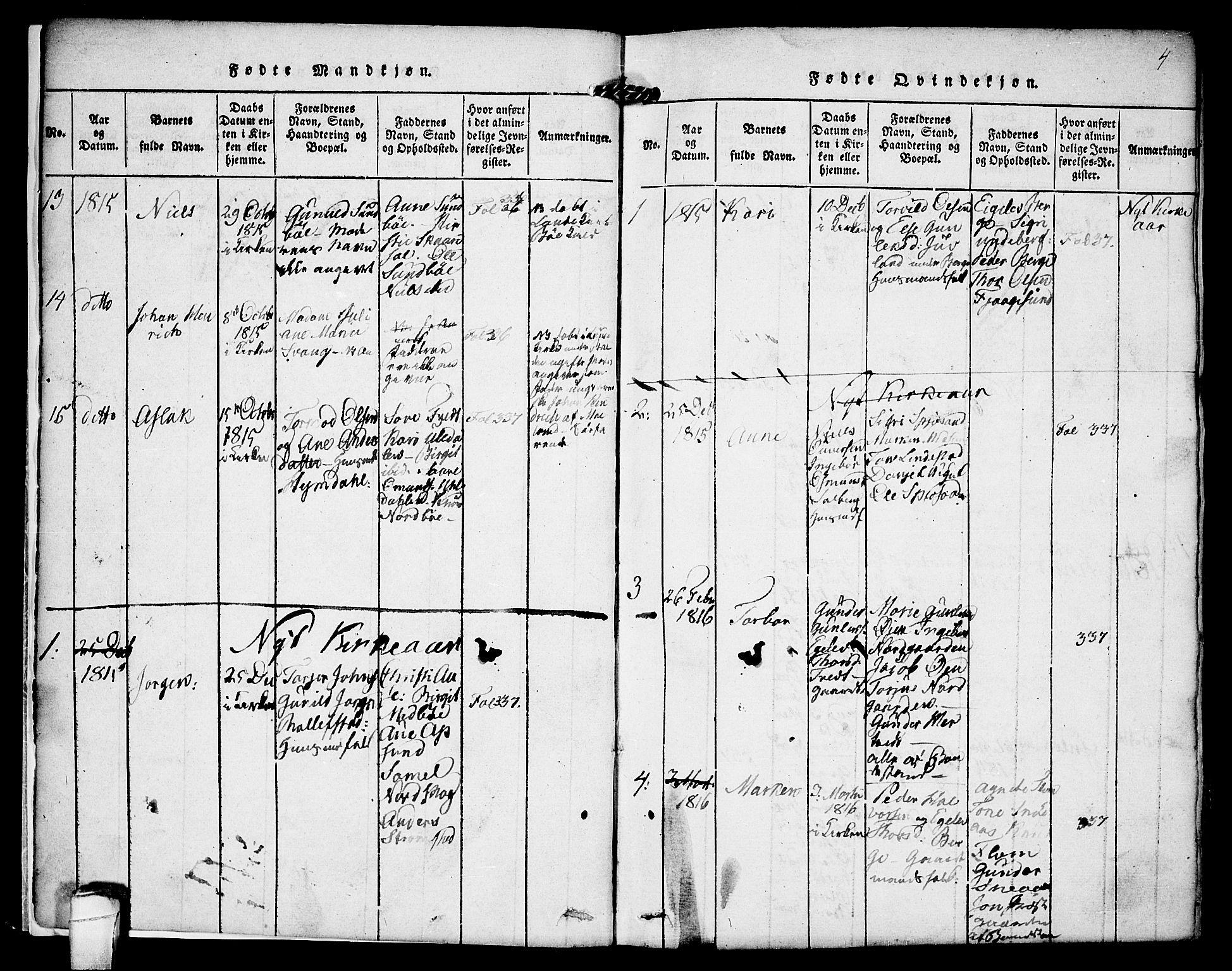SAKO, Kviteseid kirkebøker, F/Fa/L0005: Ministerialbok nr. I 5, 1815-1836, s. 4