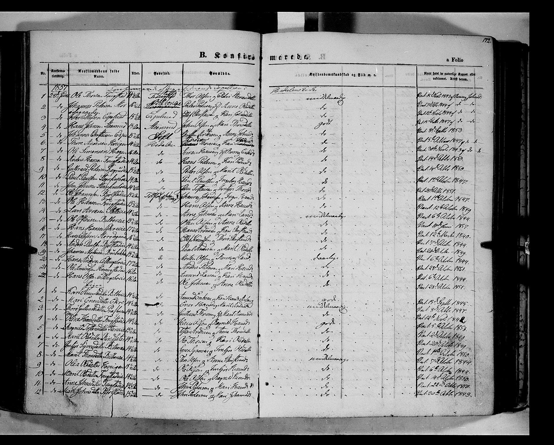SAH, Vågå prestekontor, Ministerialbok nr. 6 /1, 1856-1872, s. 172