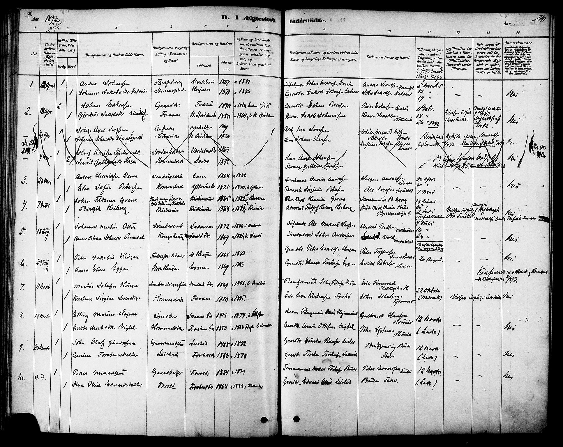 SAT, Ministerialprotokoller, klokkerbøker og fødselsregistre - Sør-Trøndelag, 616/L0410: Ministerialbok nr. 616A07, 1878-1893, s. 210