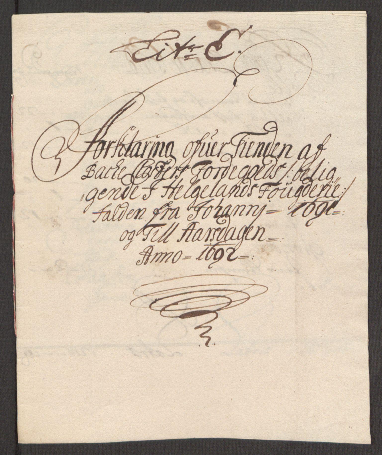 RA, Rentekammeret inntil 1814, Reviderte regnskaper, Fogderegnskap, R65/L4504: Fogderegnskap Helgeland, 1691-1692, s. 273