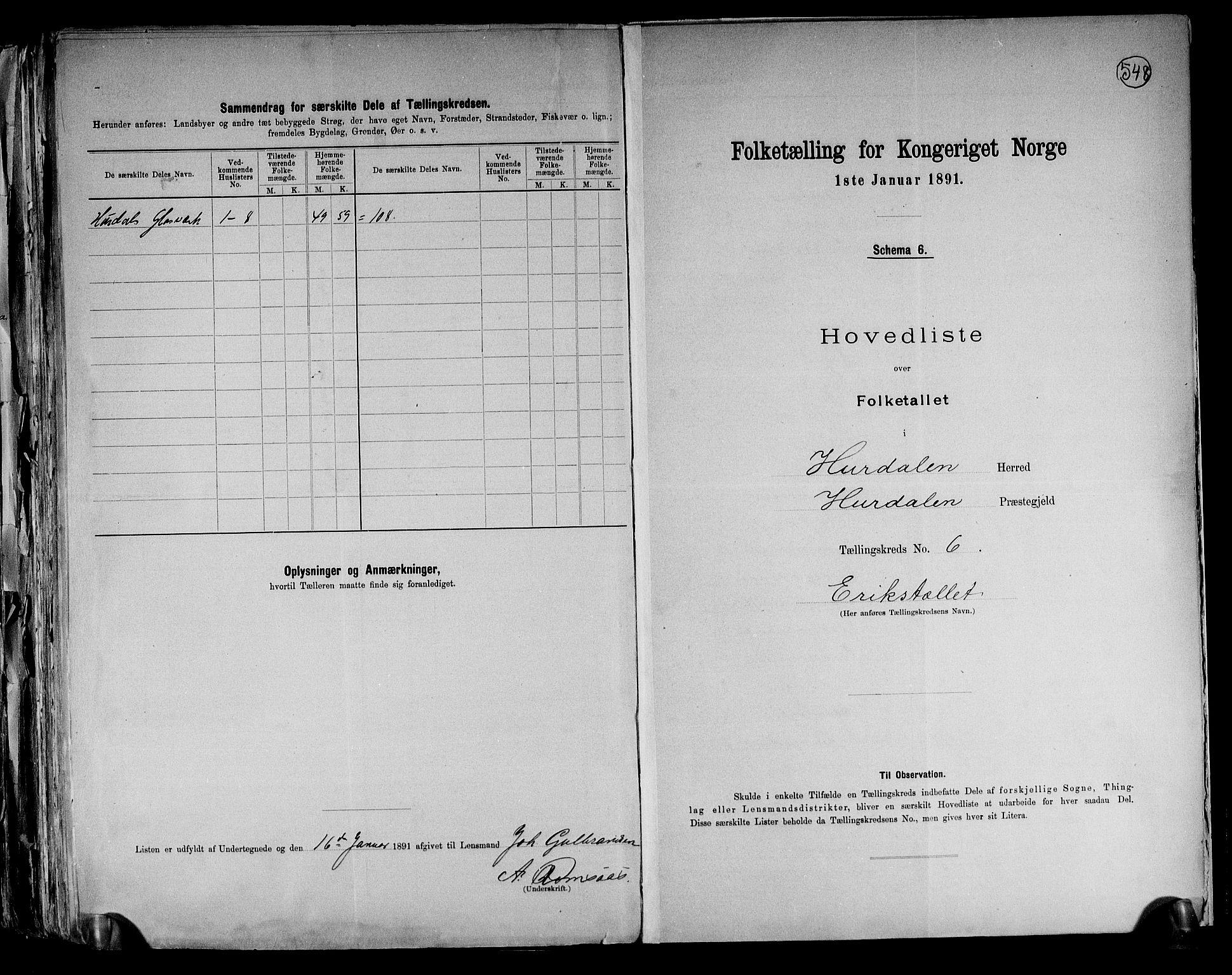 RA, Folketelling 1891 for 0239 Hurdal herred, 1891, s. 15