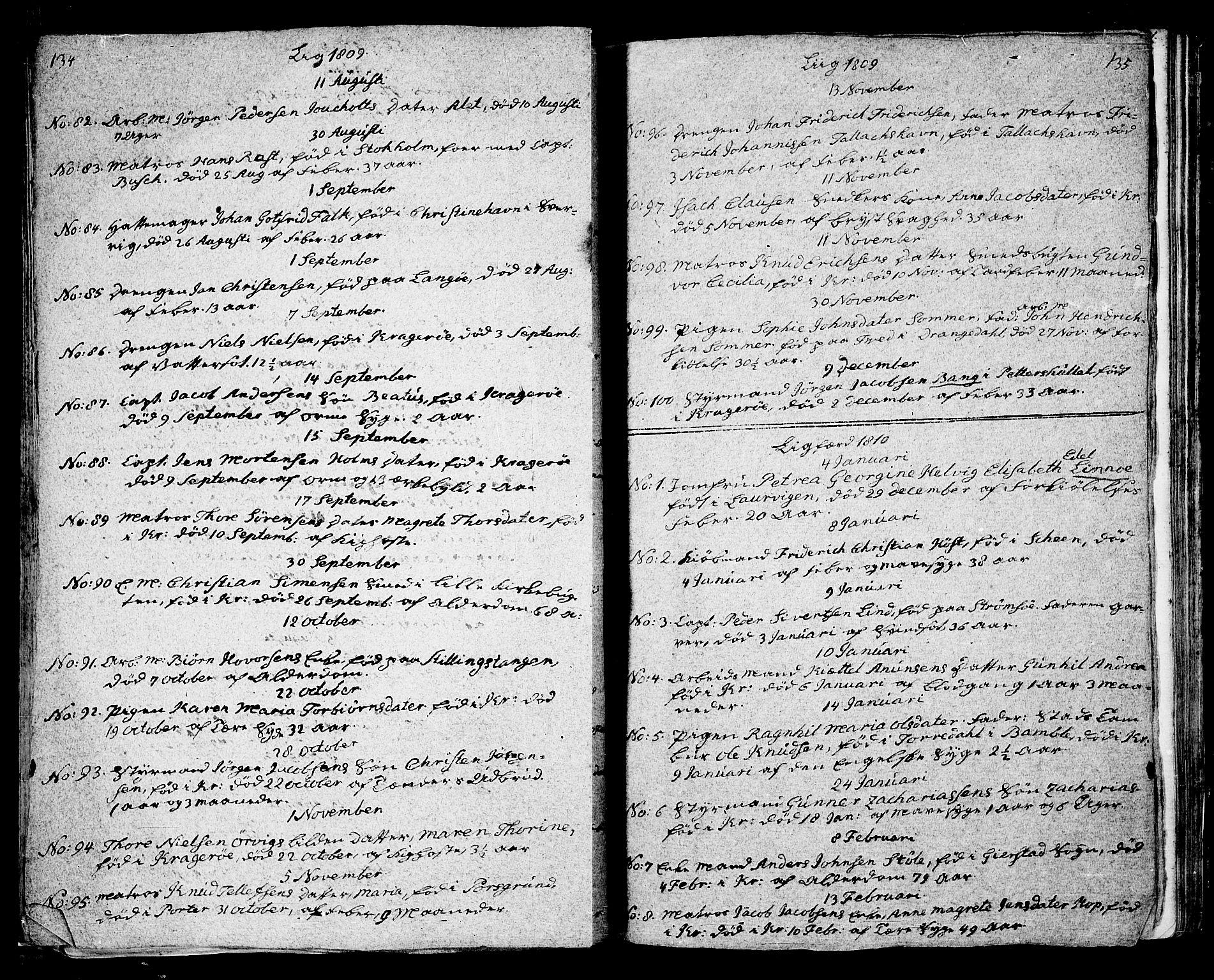 SAKO, Kragerø kirkebøker, G/Ga/L0001: Klokkerbok nr. 1 /1, 1806-1811, s. 134-135