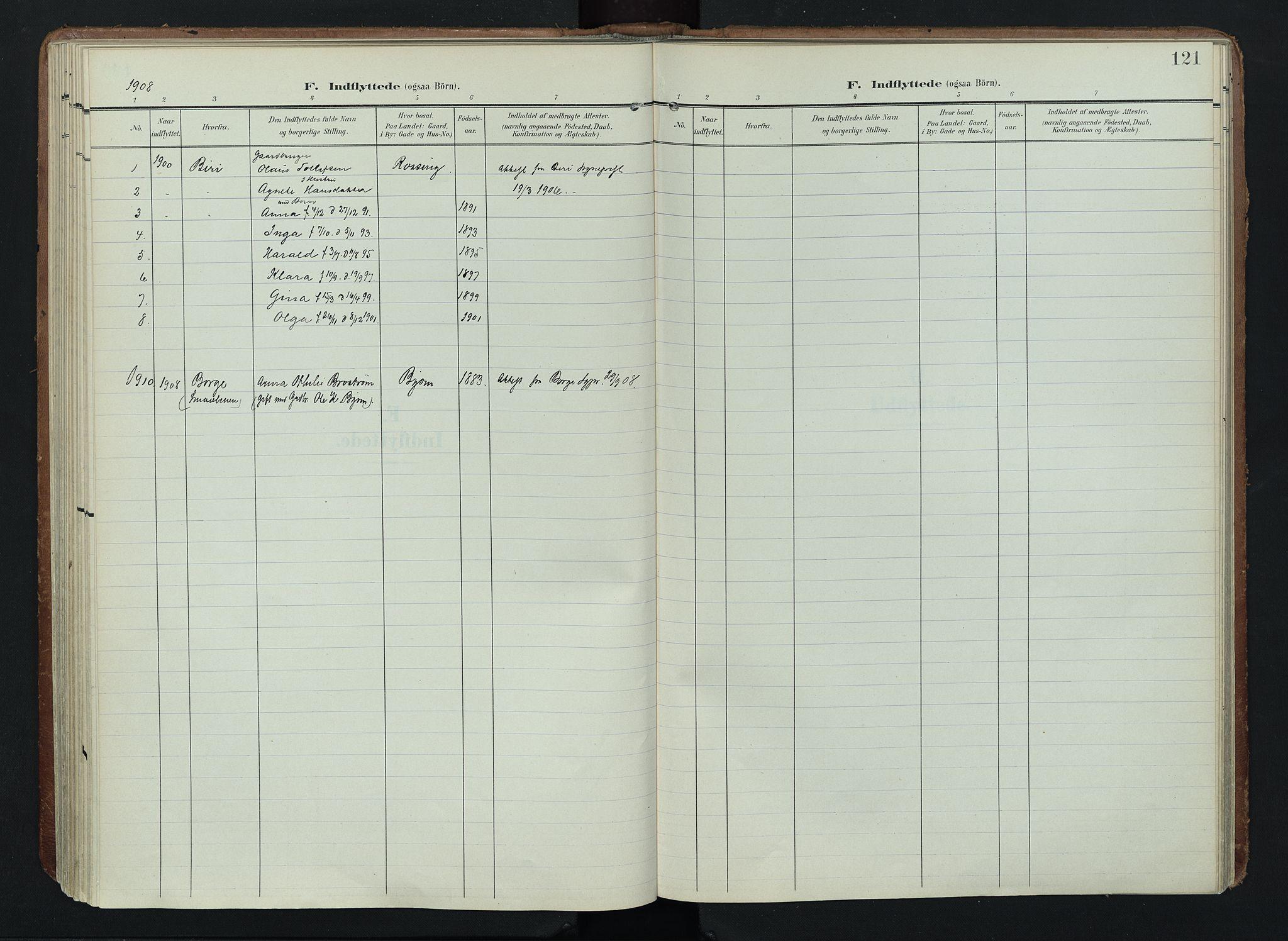 SAH, Søndre Land prestekontor, K/L0005: Ministerialbok nr. 5, 1905-1914, s. 121