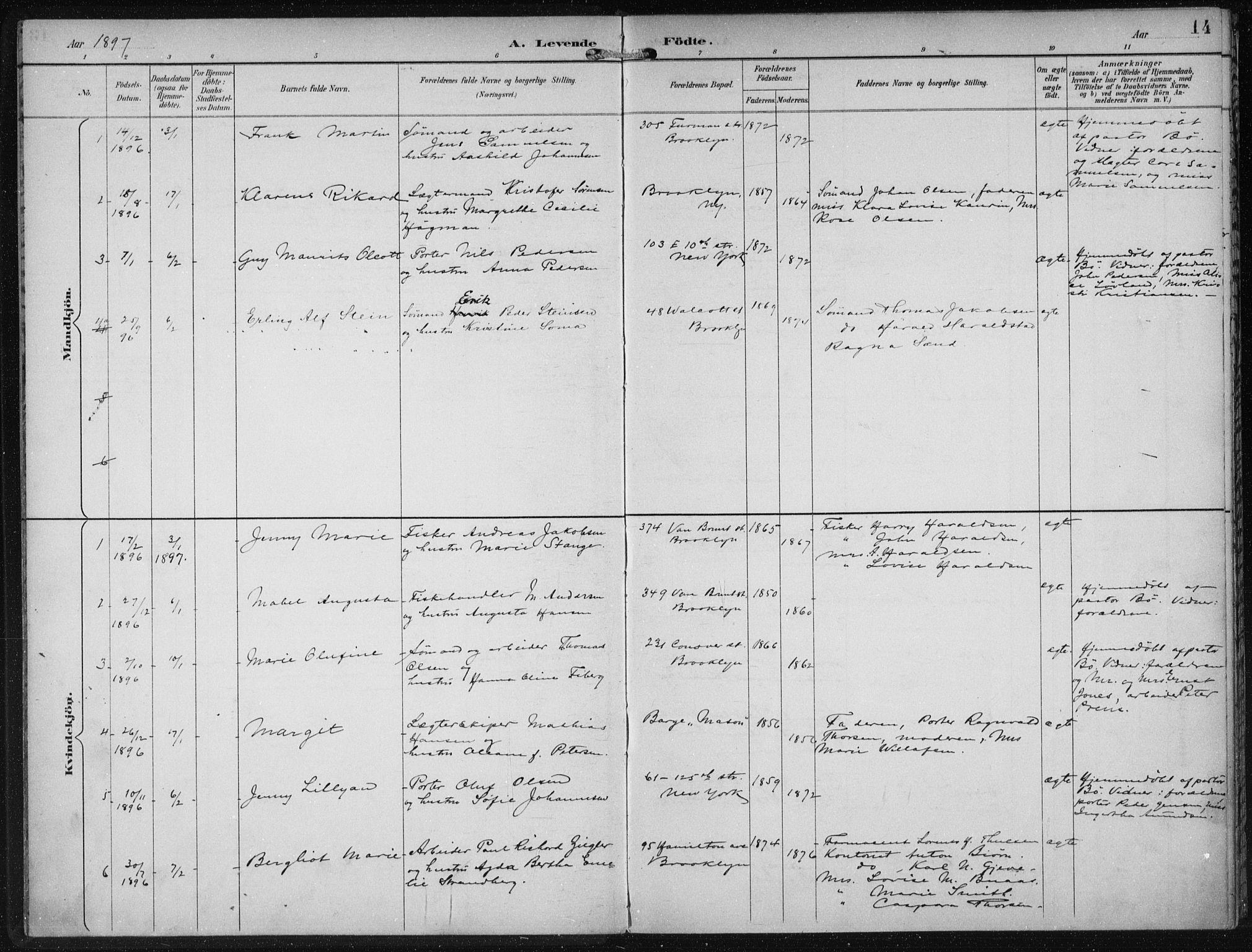 SAB, Den Norske Sjømannsmisjon i utlandet*, Ministerialbok nr. A 4, 1893-1901, s. 14