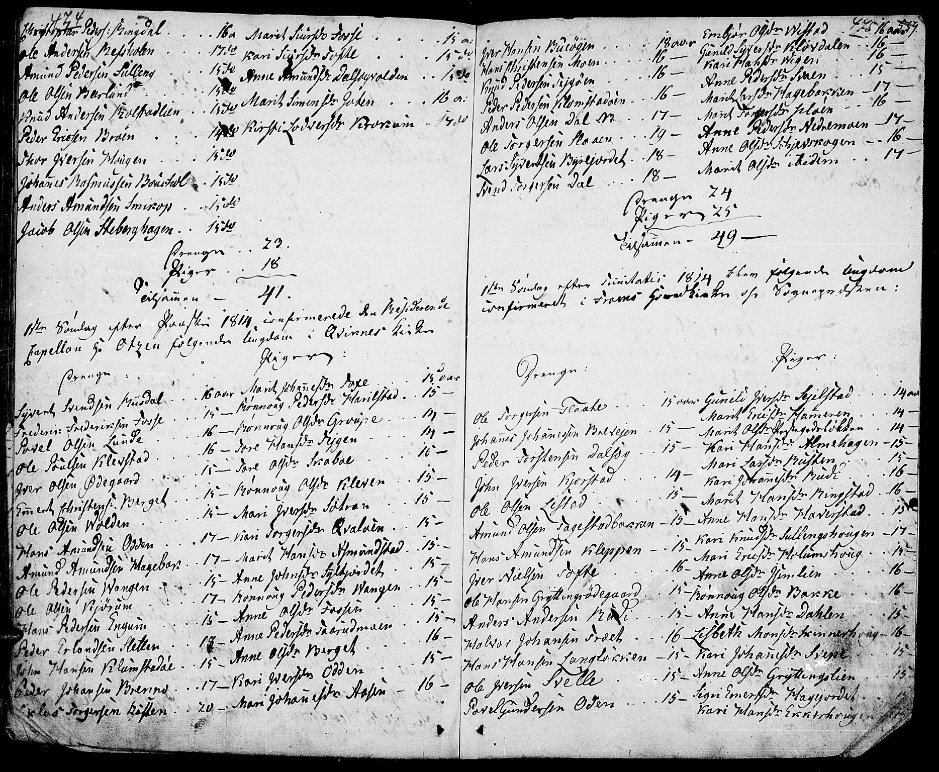 SAH, Fron prestekontor, H/Ha/Haa/L0001: Ministerialbok nr. 1, 1799-1816, s. 474-475