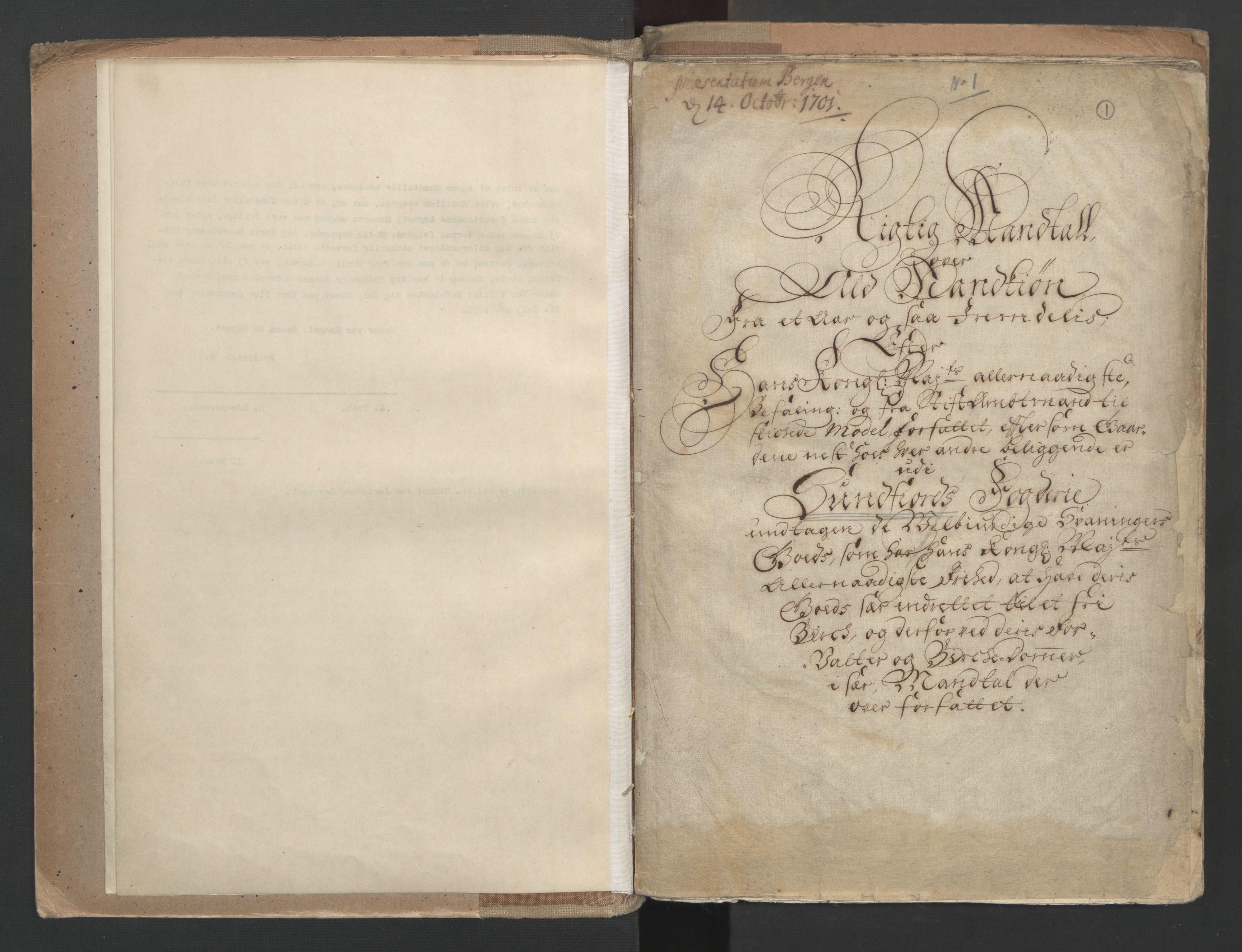 RA, Manntallet 1701, nr. 9: Sunnfjord fogderi, Nordfjord fogderi og Svanø birk, 1701, s. 1