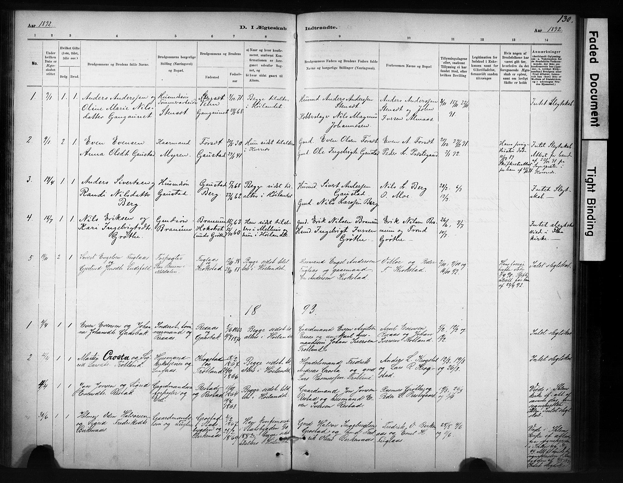 SAT, Ministerialprotokoller, klokkerbøker og fødselsregistre - Sør-Trøndelag, 694/L1127: Ministerialbok nr. 694A01, 1887-1905, s. 130