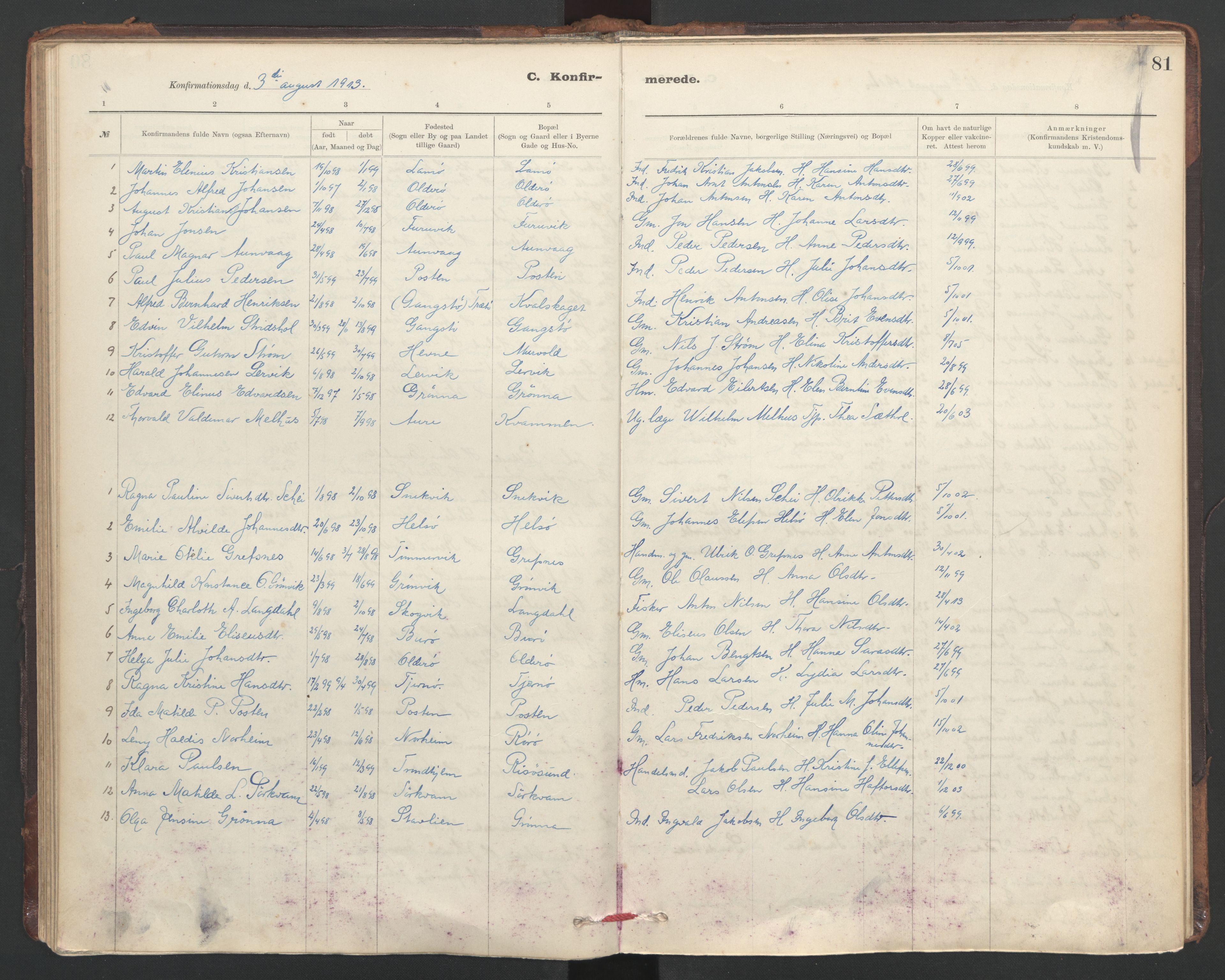 SAT, Ministerialprotokoller, klokkerbøker og fødselsregistre - Sør-Trøndelag, 635/L0552: Ministerialbok nr. 635A02, 1899-1919, s. 81