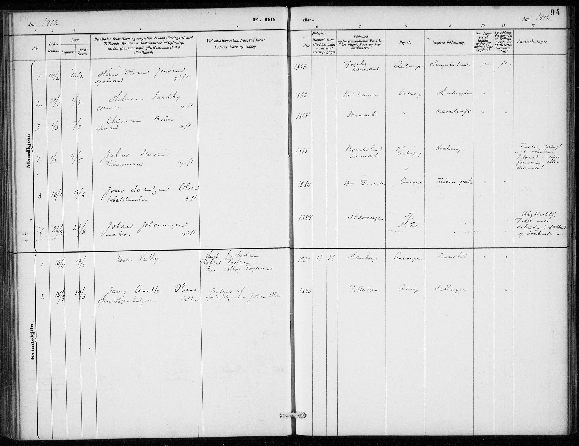 SAB, Den Norske Sjømannsmisjon i utlandet*, Ministerialbok nr. A 2, 1887-1913, s. 94